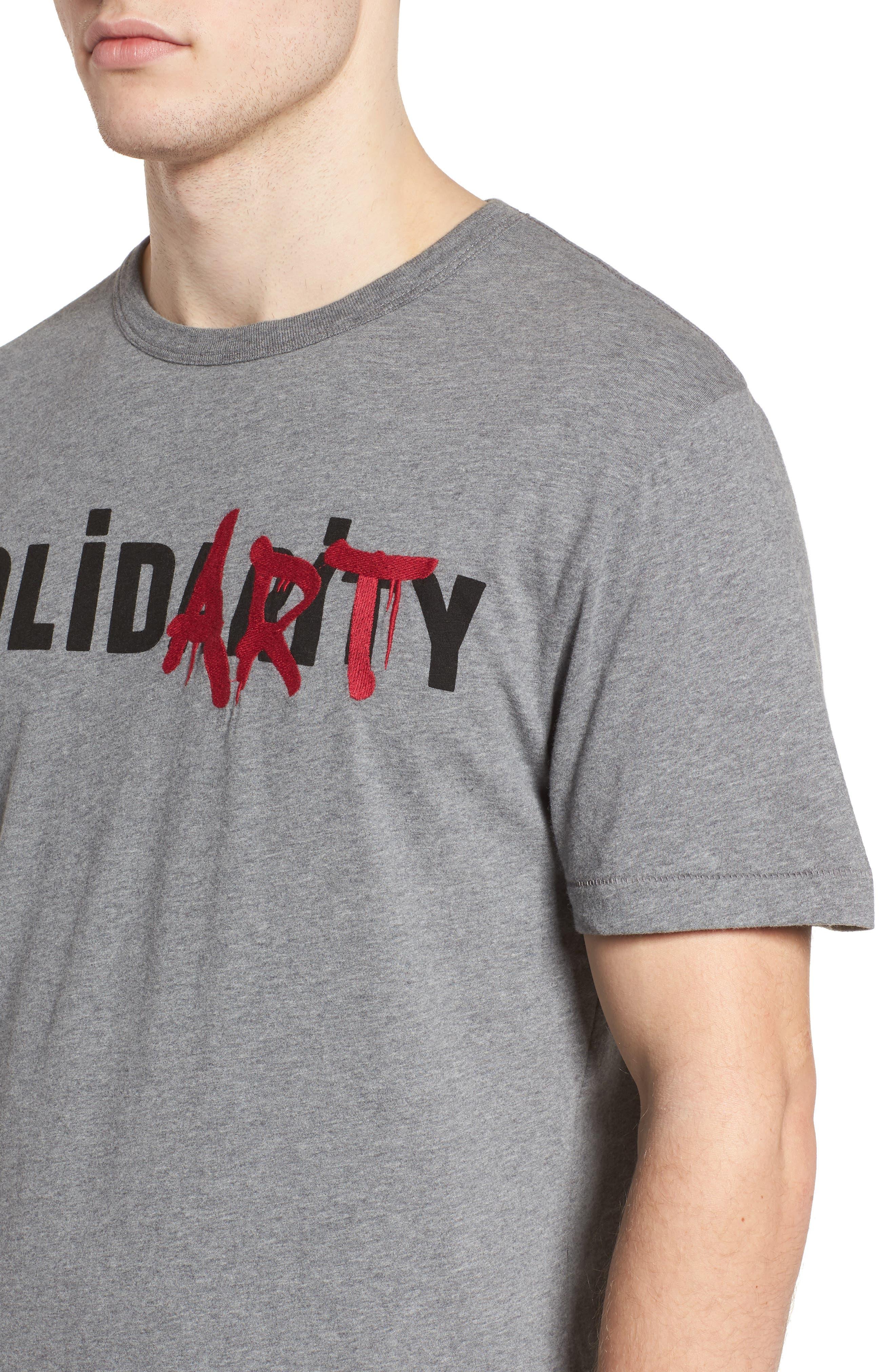 Solidarity Slim Fit Crewneck T-Shirt,                             Alternate thumbnail 4, color,                             Mid Grey Melange/ Black