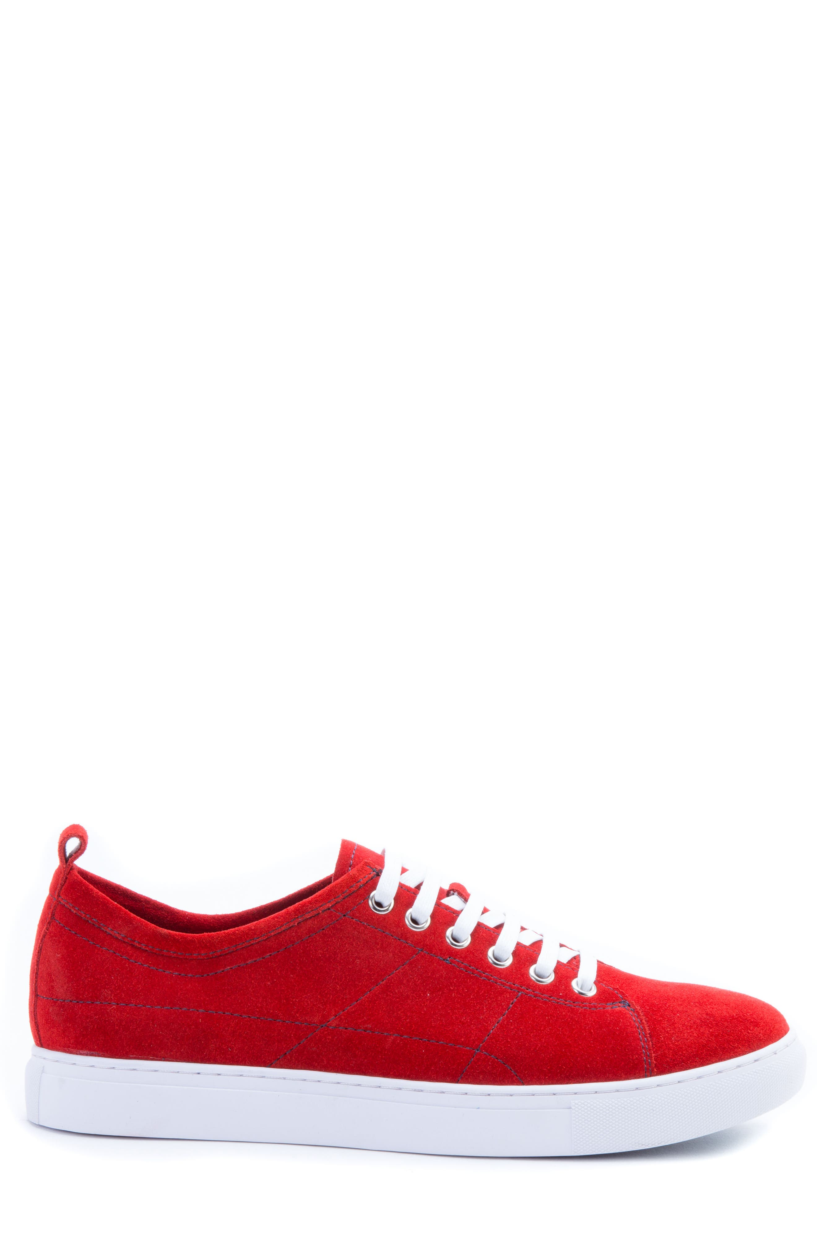 Ernesto Low Top Sneaker,                             Alternate thumbnail 3, color,                             Red Suede