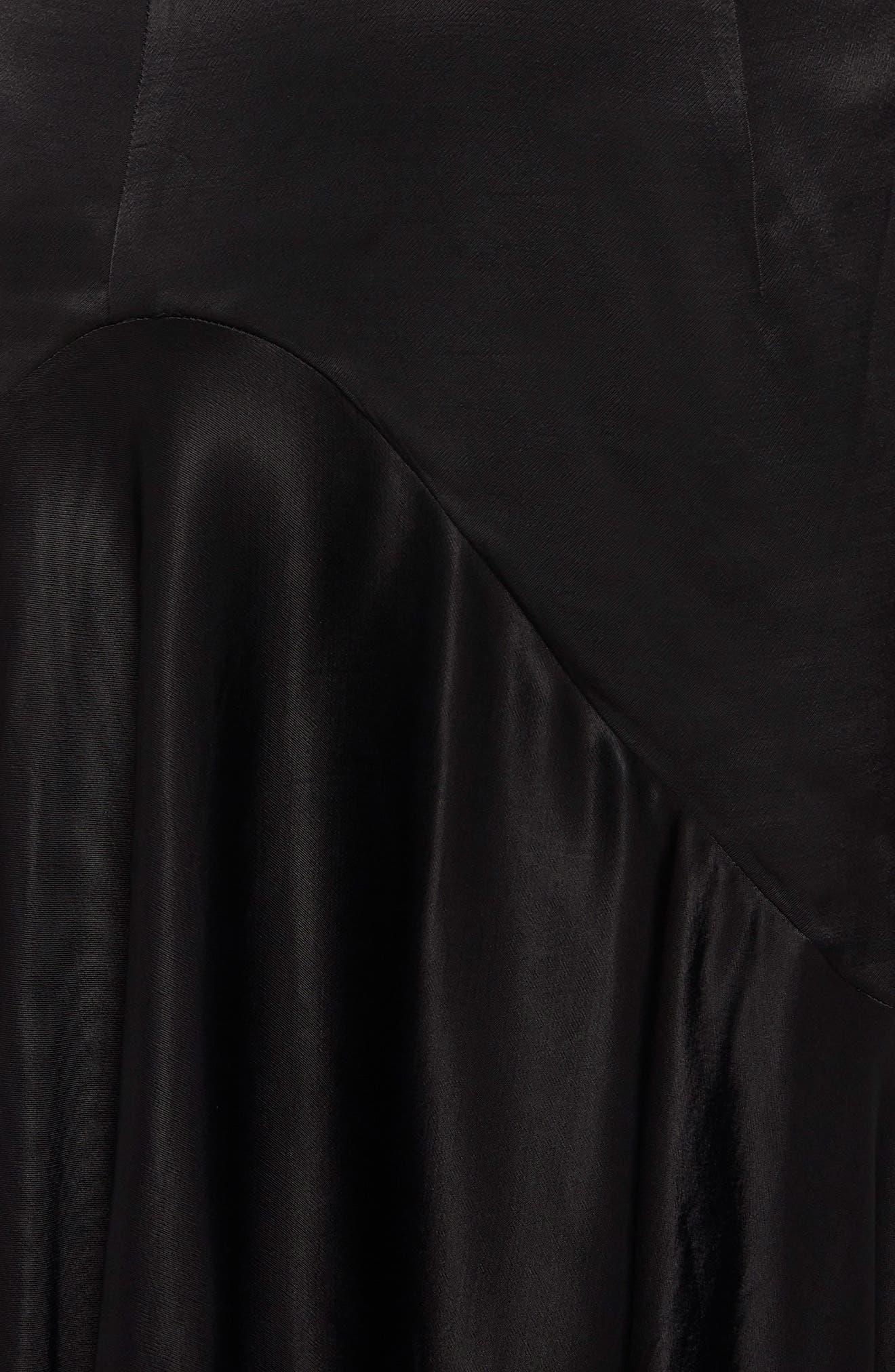 Arella Satin Gown,                             Alternate thumbnail 4, color,                             Black