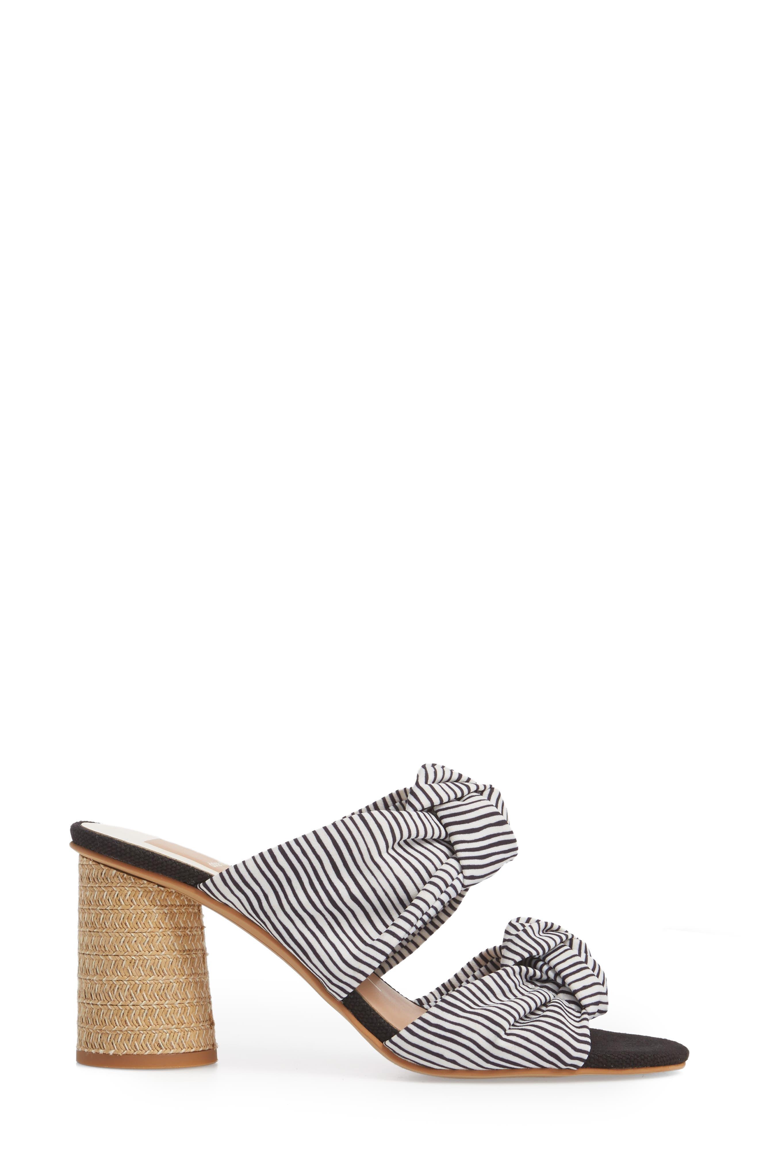 Jene Double Knot Sandal,                             Alternate thumbnail 4, color,                             White Stripe