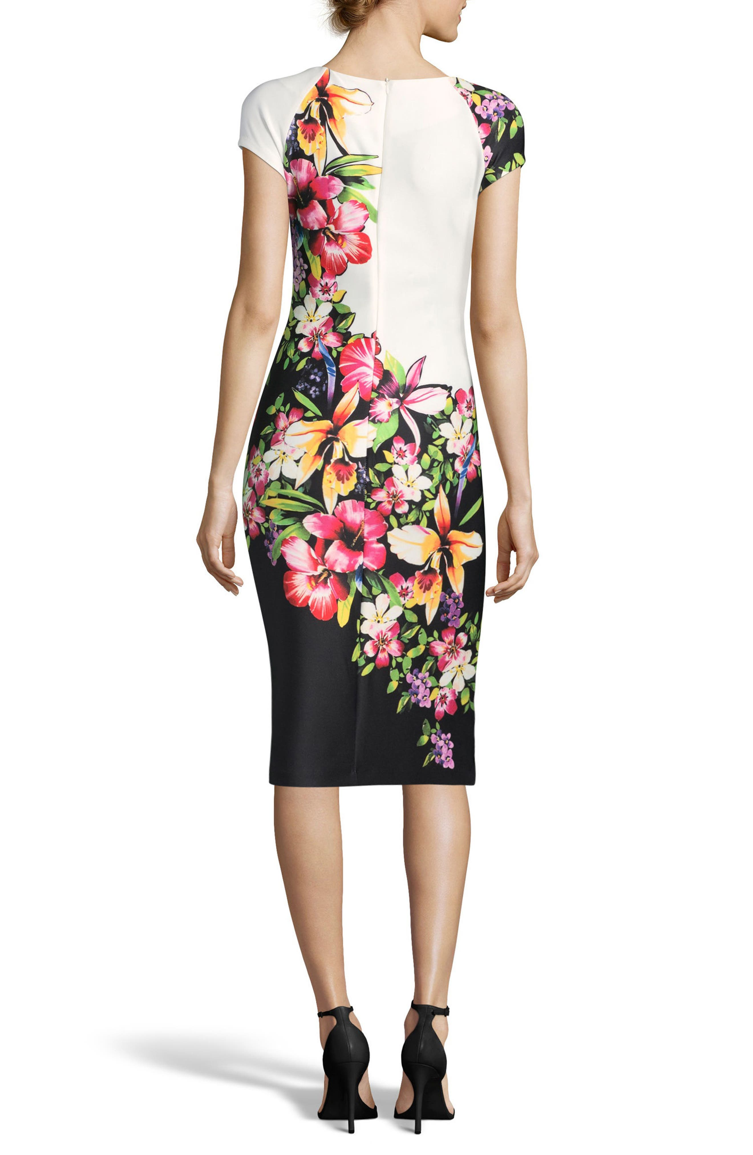 Tropical Print Sheath Dress,                             Alternate thumbnail 2, color,                             Black/ Pink