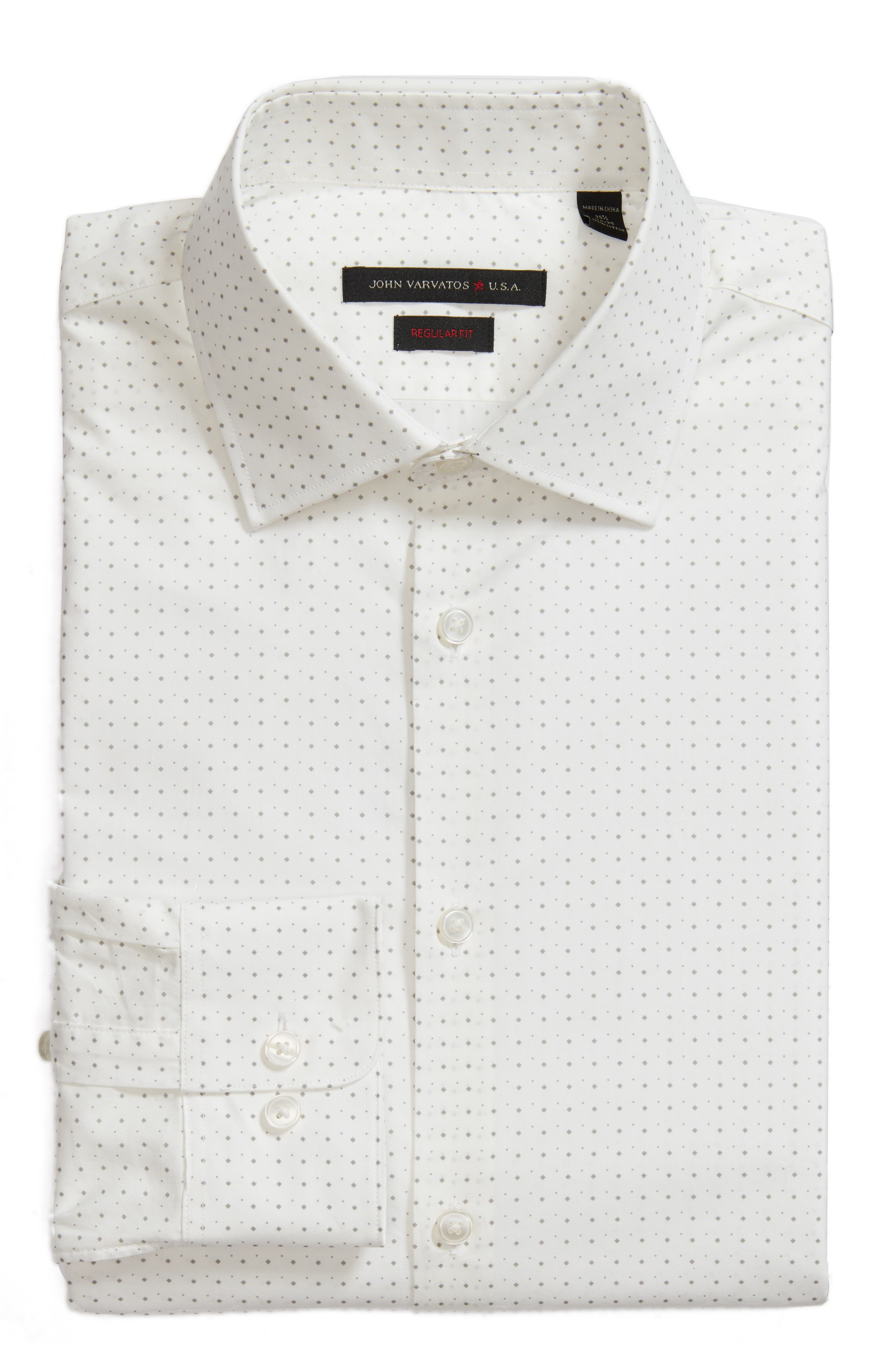 Regular Fit Diamond Dress Shirt,                             Alternate thumbnail 6, color,                             Griffin Grey
