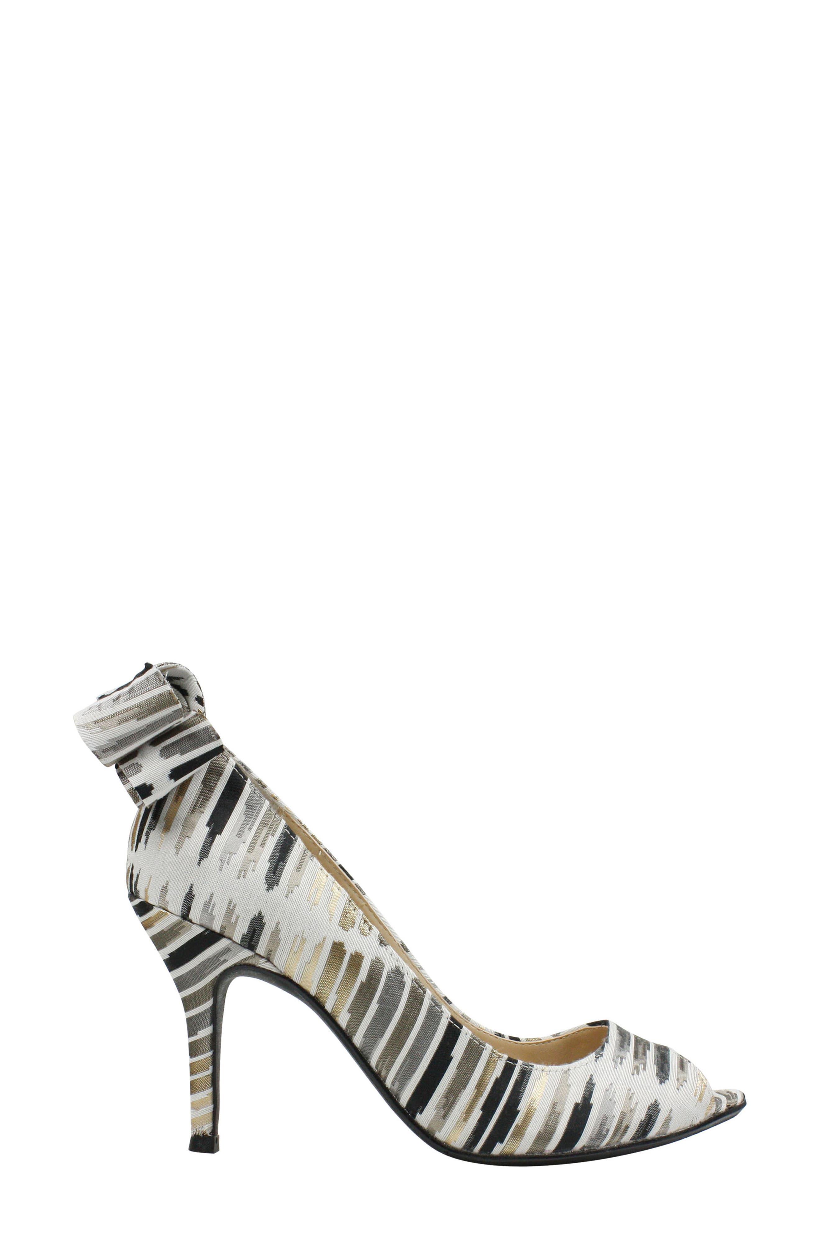 Ellasee Bow Peep Toe Pump,                             Alternate thumbnail 3, color,                             Cream/ Black/ Gold Fabric