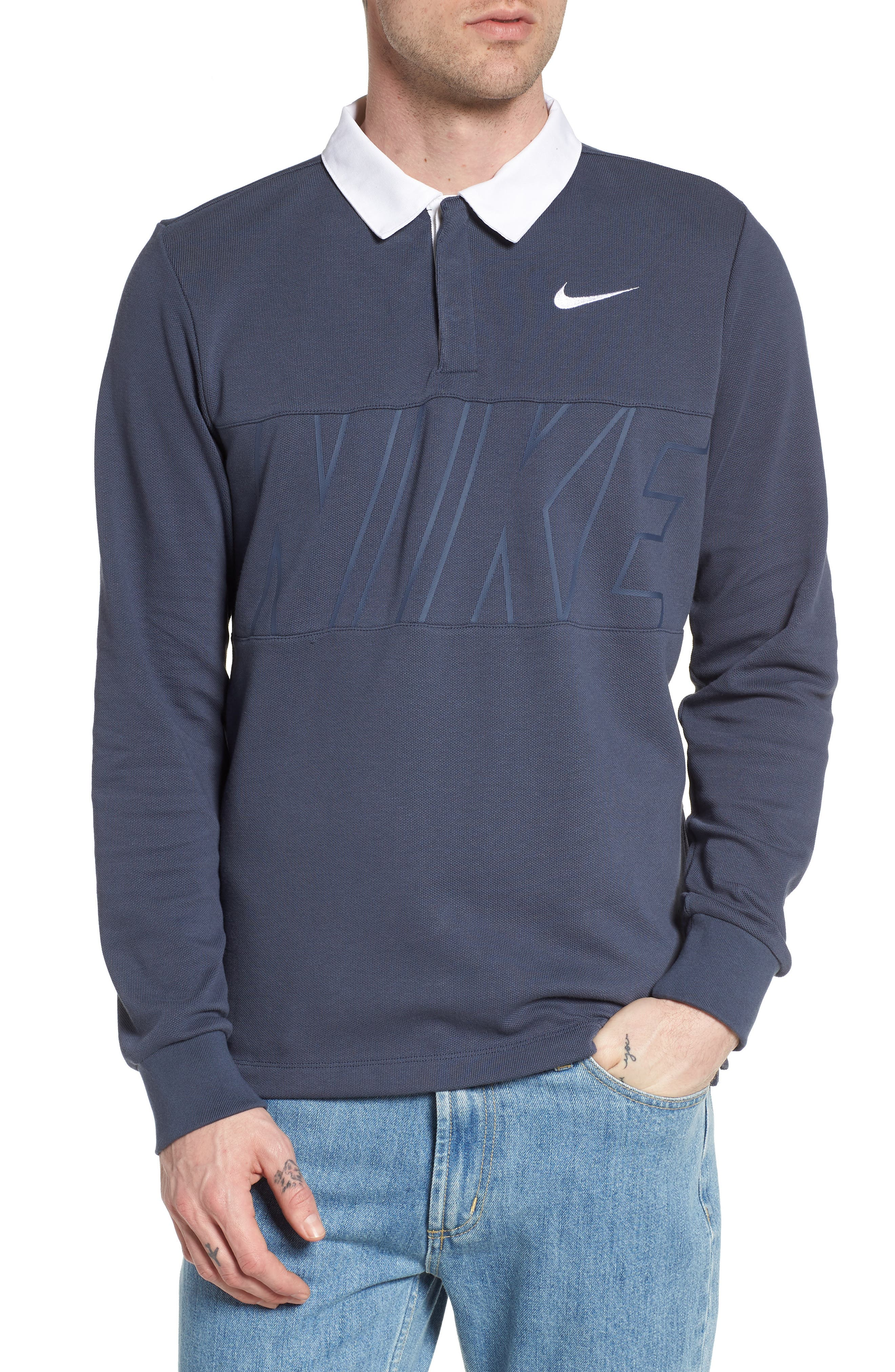 Nike Dry SB Rugby Polo,                             Main thumbnail 1, color,                             Thunder Blue/ White