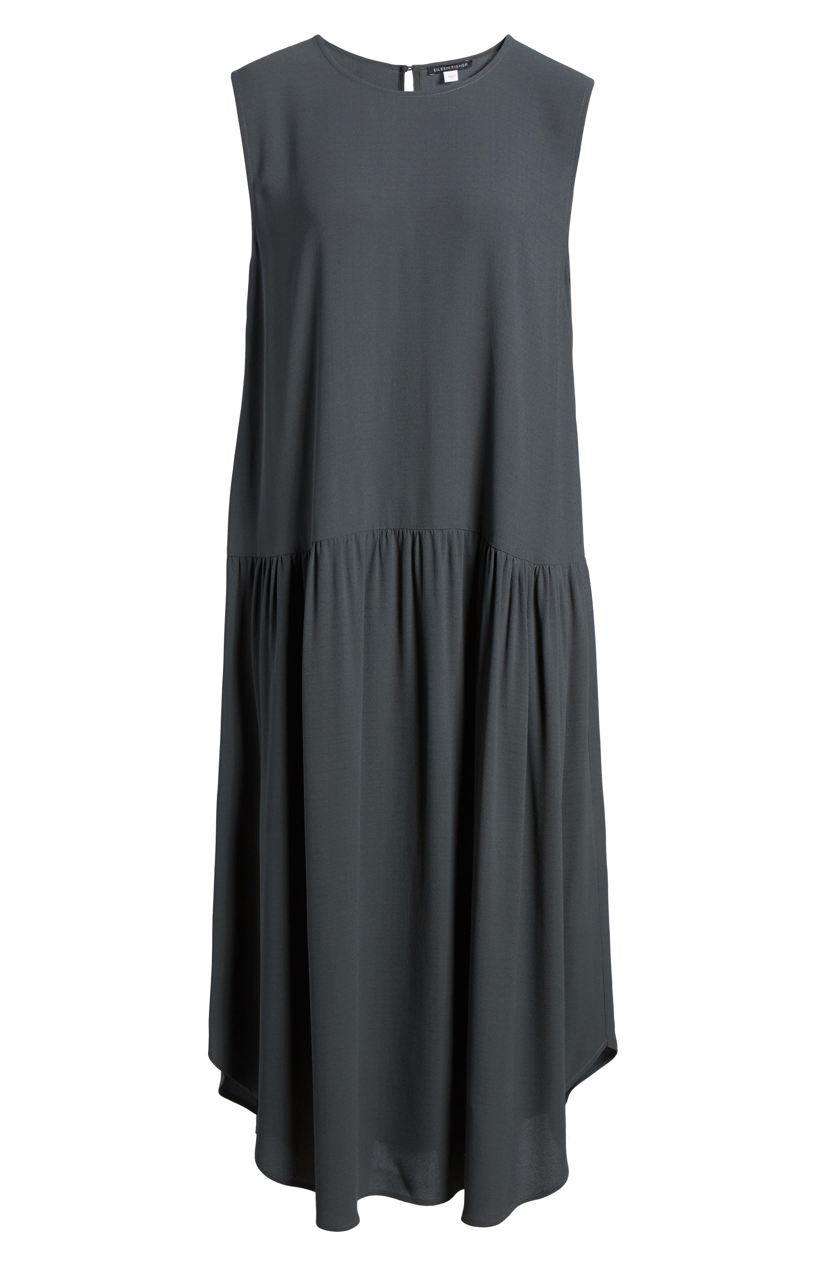 Alternate Image 6  - Eileen Fisher Drop Waist Silk Midi Dress