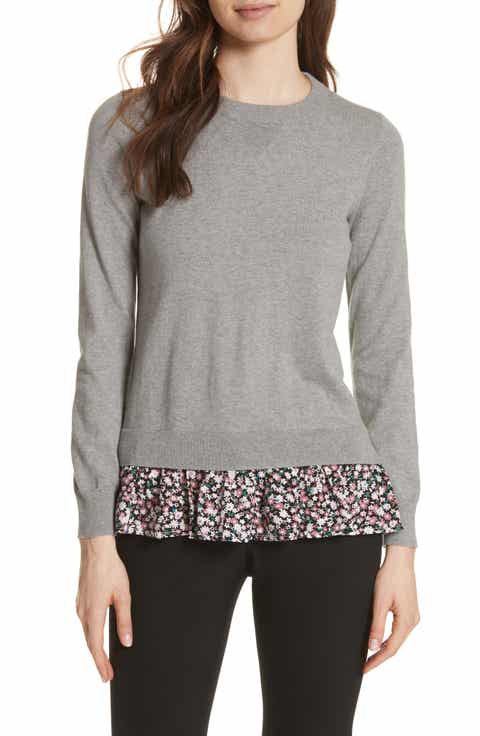 kate spade new york floral ruffle sweater