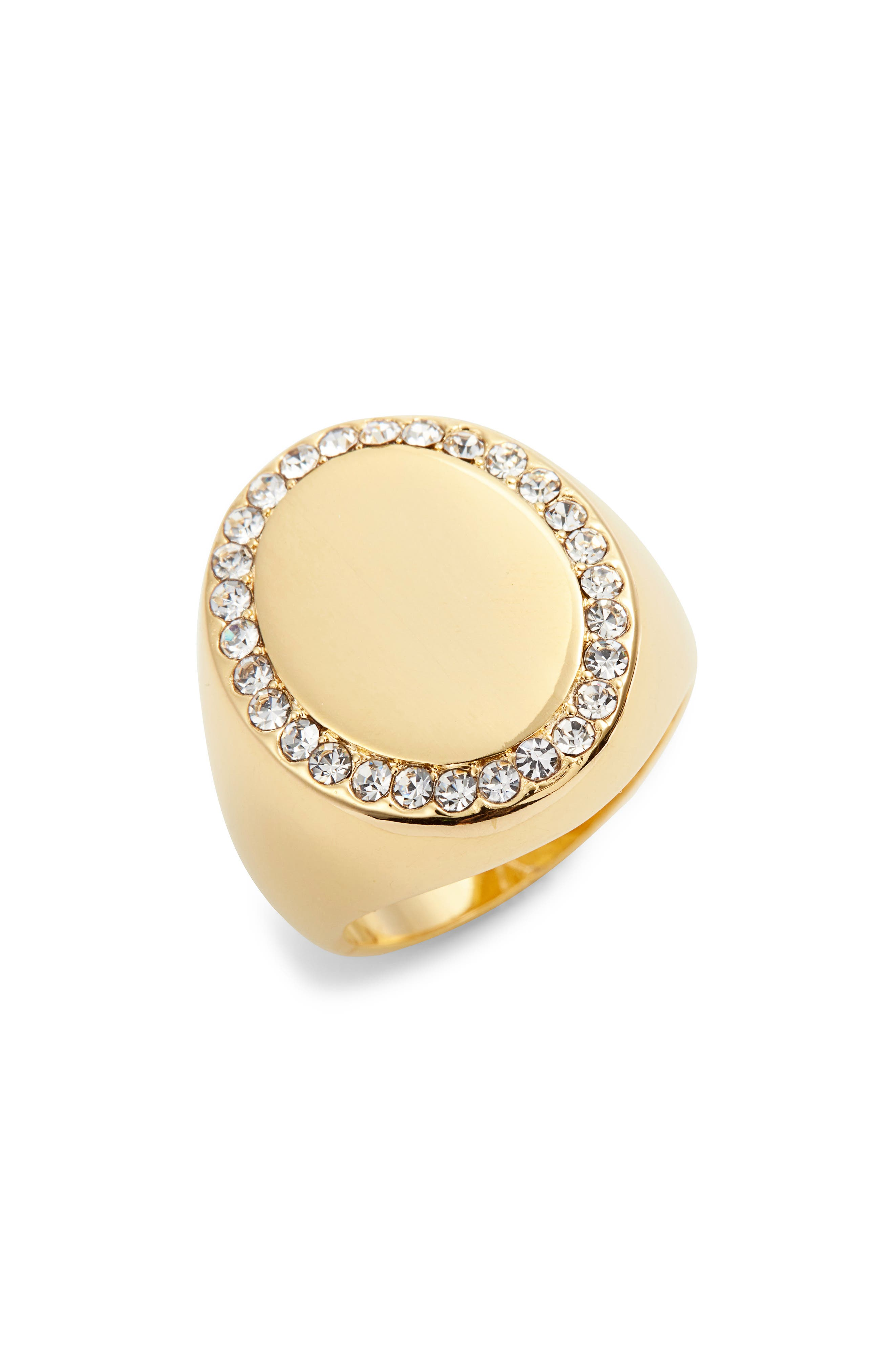 Pavé Oval Signet Ring,                             Main thumbnail 1, color,                             Gold
