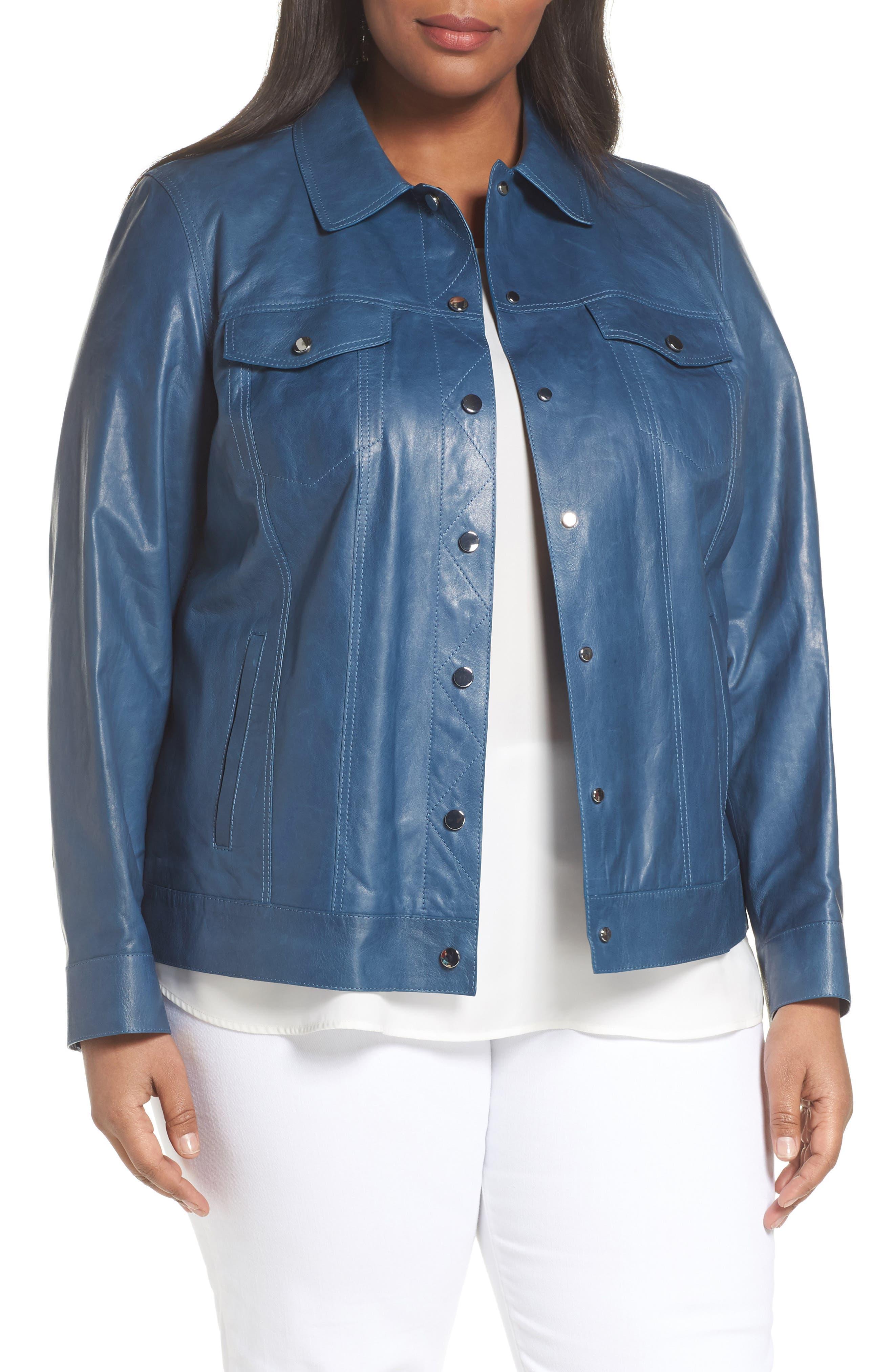 Destiny Leather Jacket,                         Main,                         color, Placid Blue