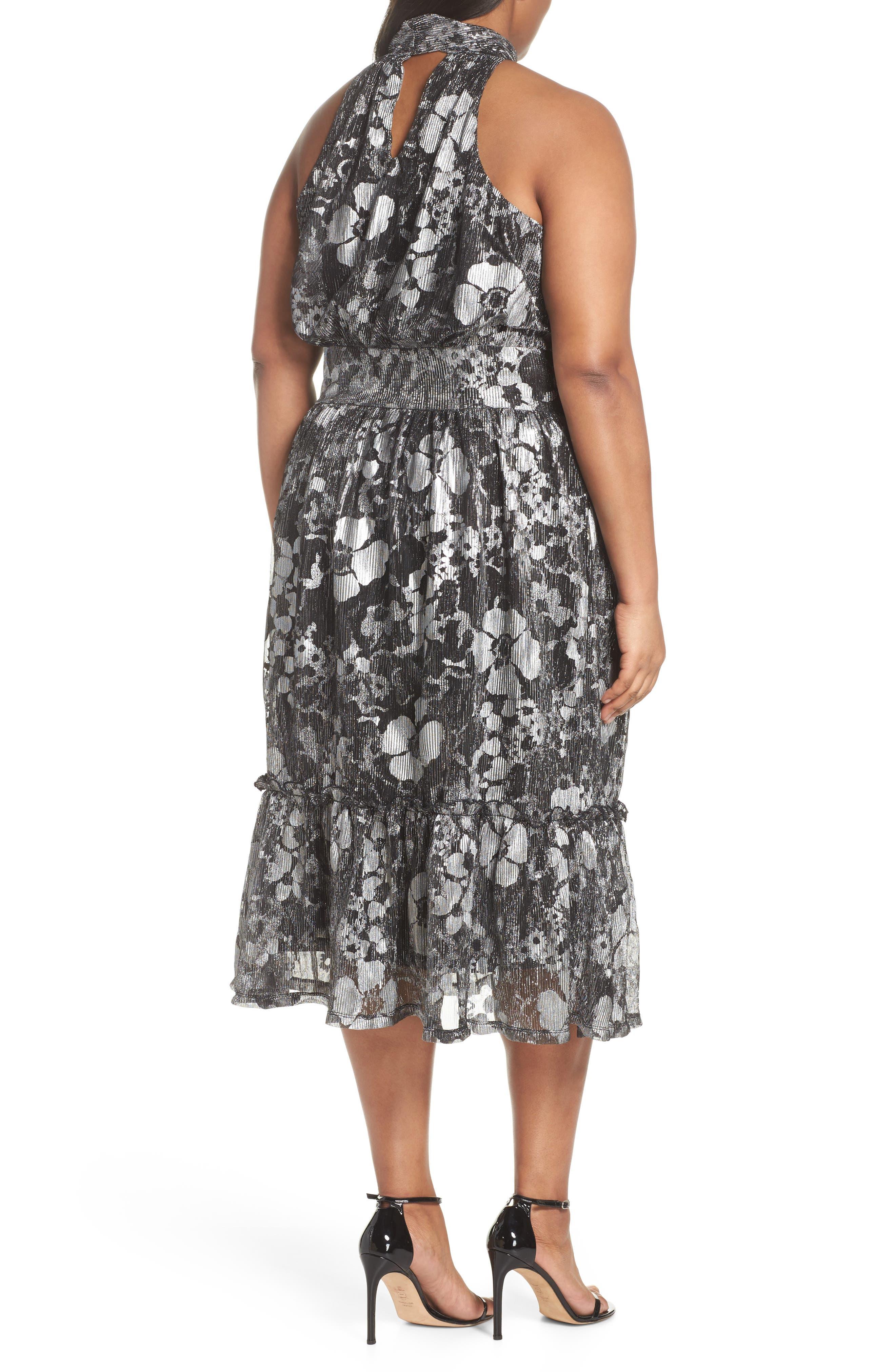 Floral Metallic Midi Dress,                             Alternate thumbnail 2, color,                             Black/ Silver Foil