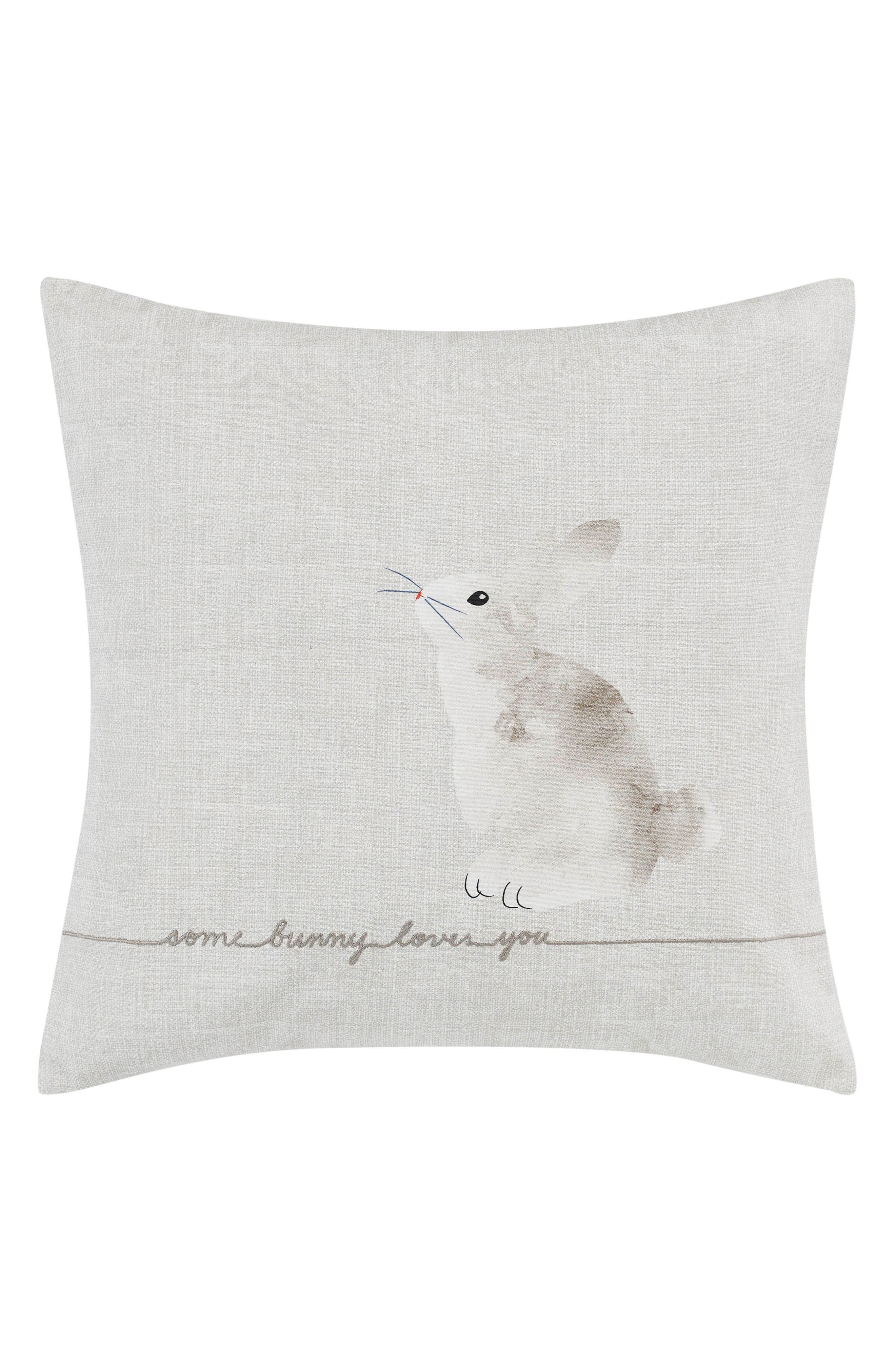 Claremont Some Bunny Loves You Accent Pillow,                             Main thumbnail 1, color,                             Pastel Grey