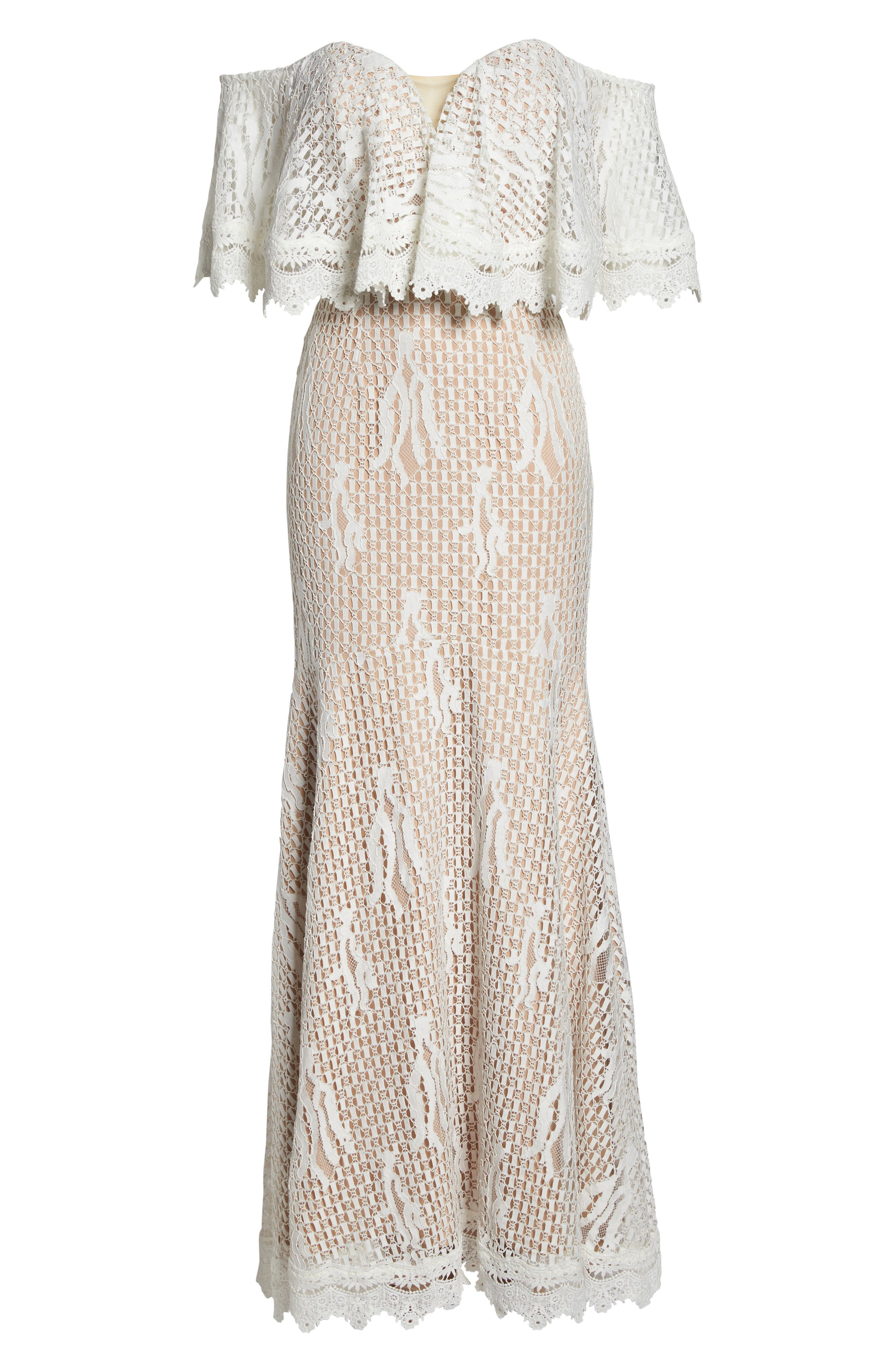 Davilea Off the Shoulder Lace Gown,                             Alternate thumbnail 6, color,                             Ivory