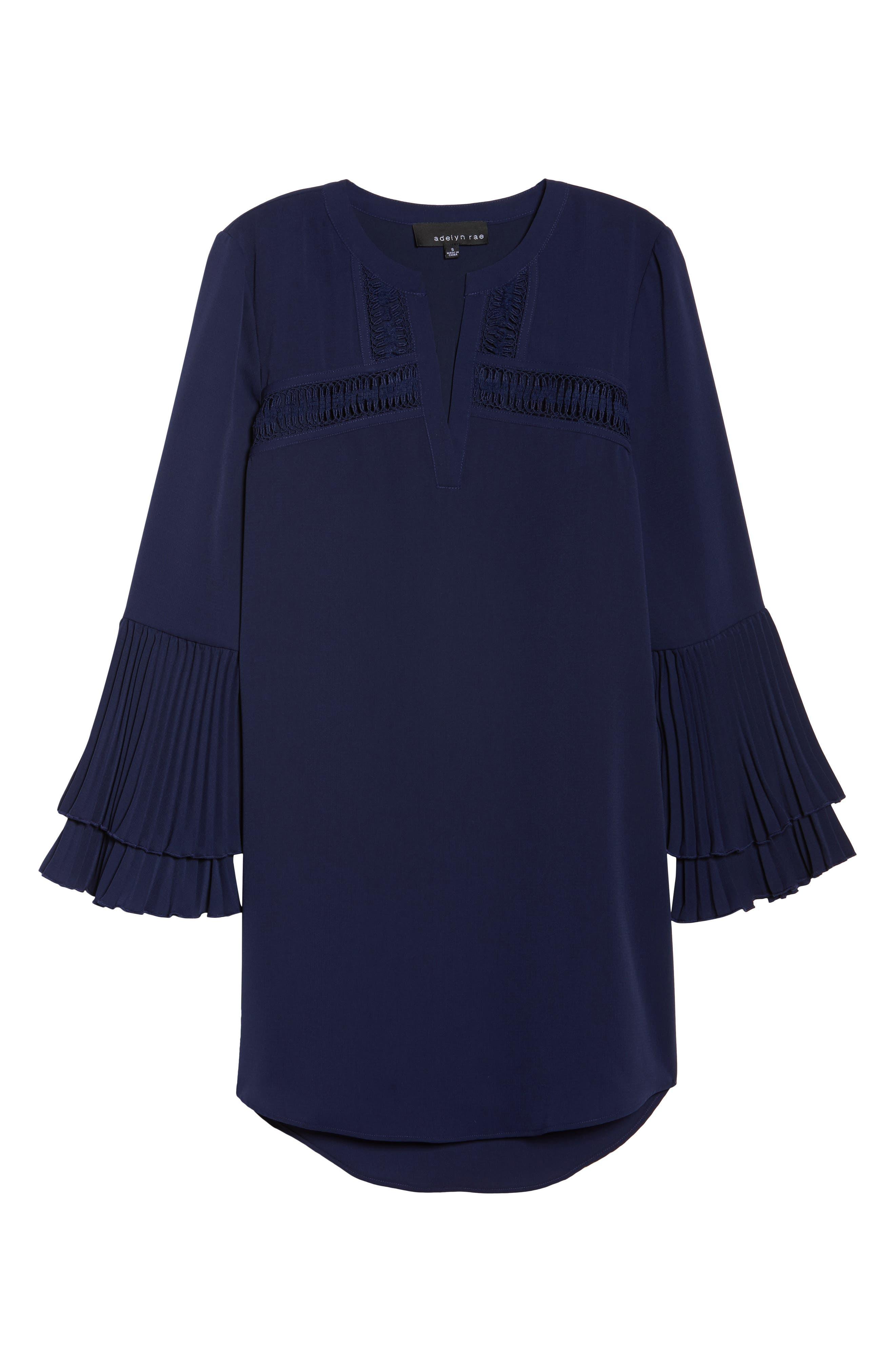 Elissa Pleat Cuff Shift Dress,                             Alternate thumbnail 6, color,                             Navy