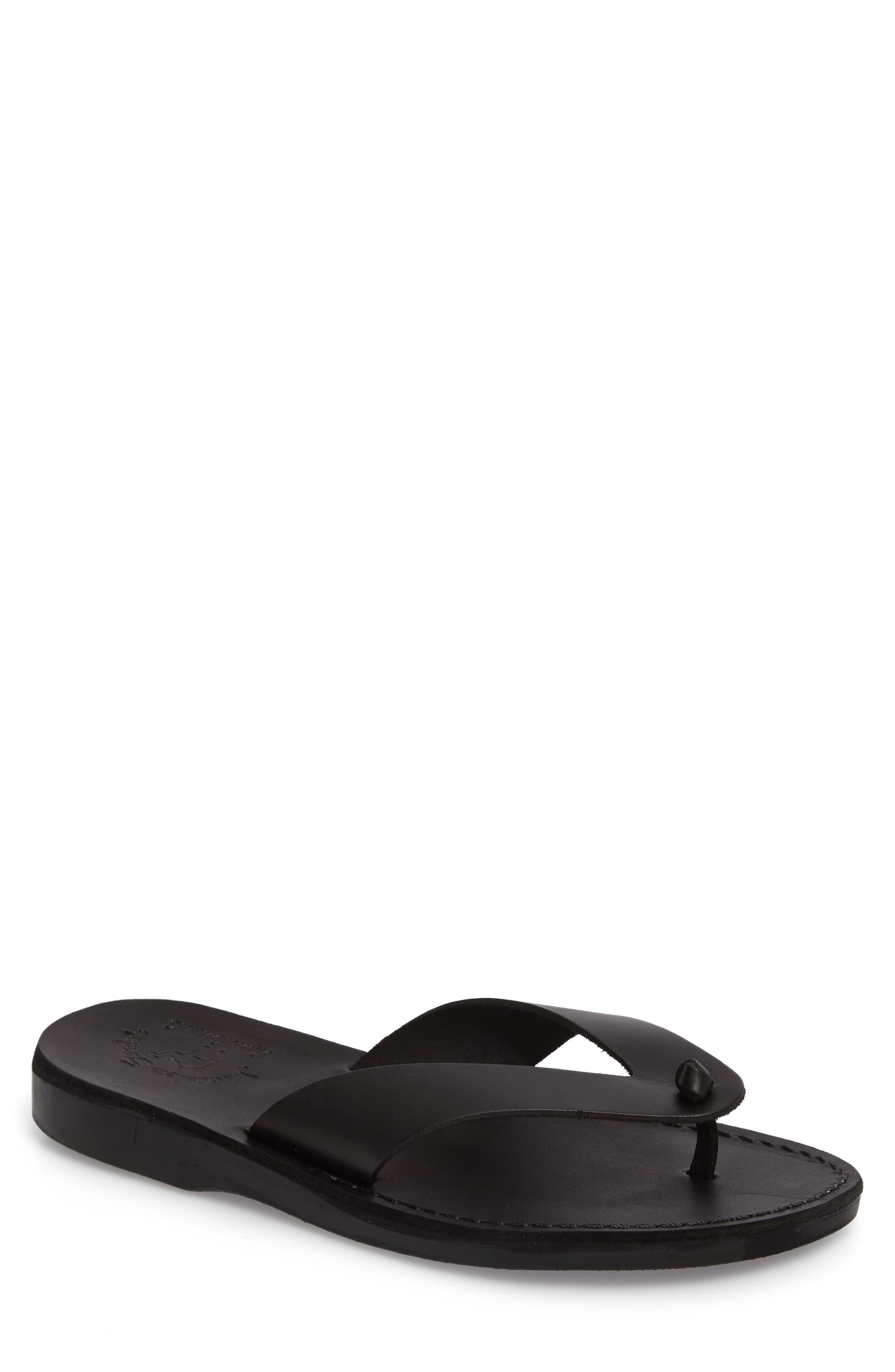 Solomon Flip Flop,                             Main thumbnail 1, color,                             Black Leather