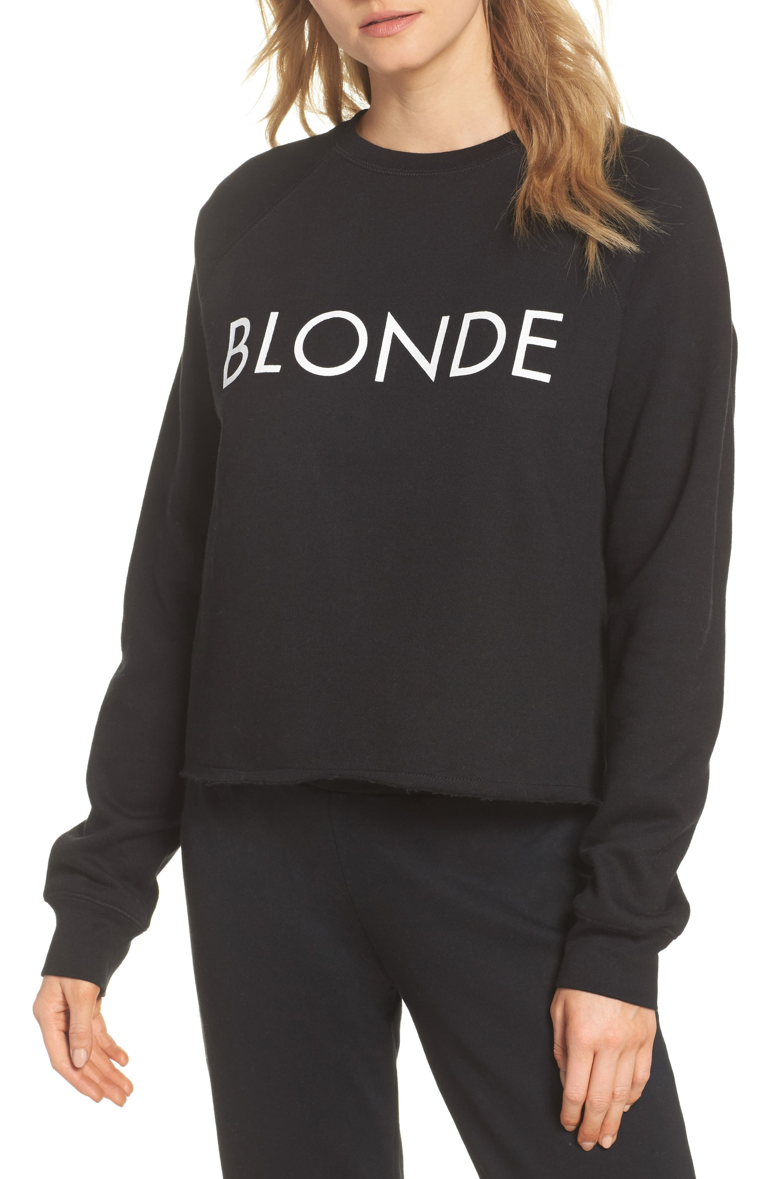 BRUNETTE the Label Blonde Raw Hem Sweatshirt