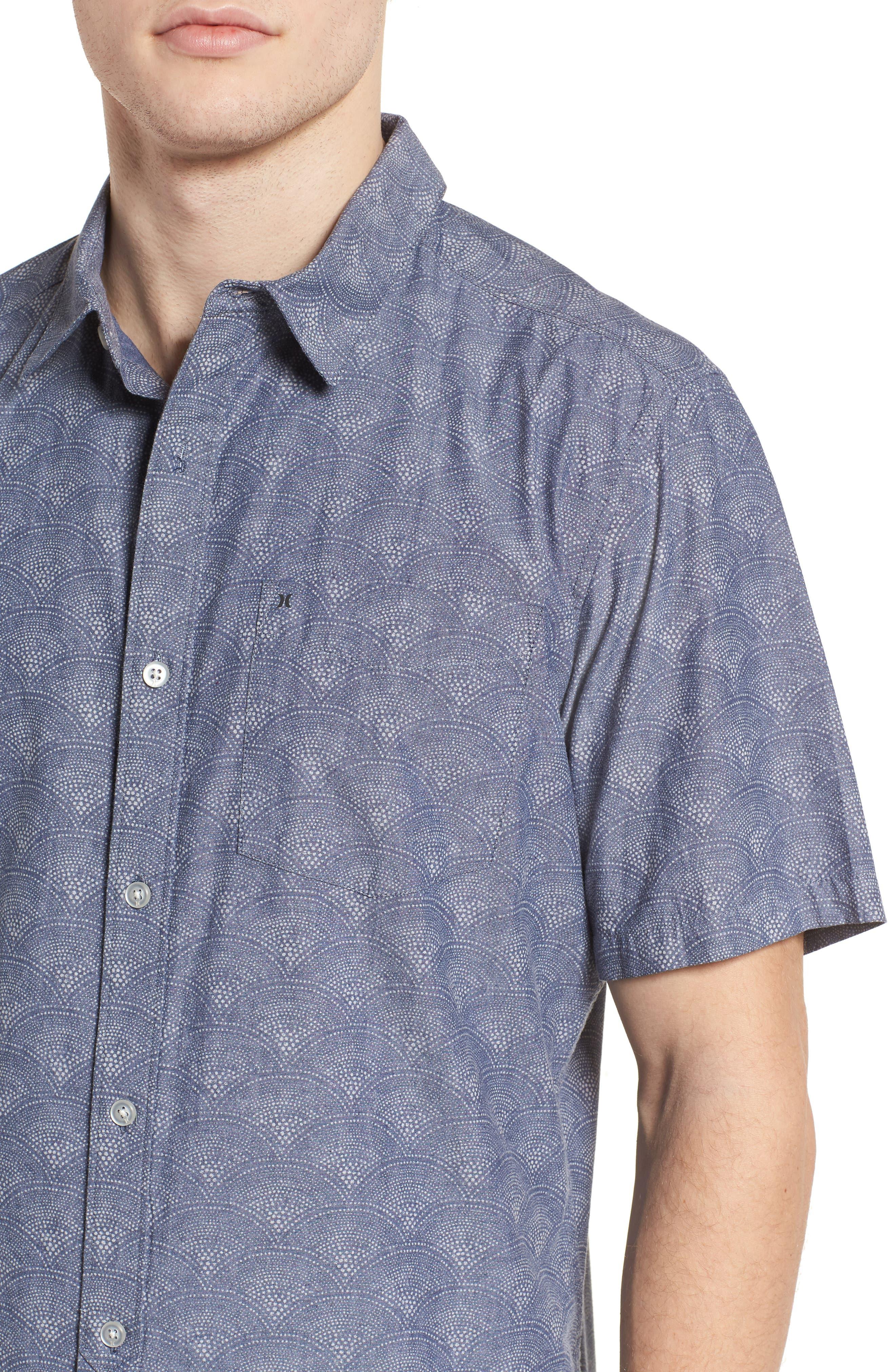 Pescado Short Sleeve Oxford Shirt,                             Alternate thumbnail 4, color,                             Obsidian