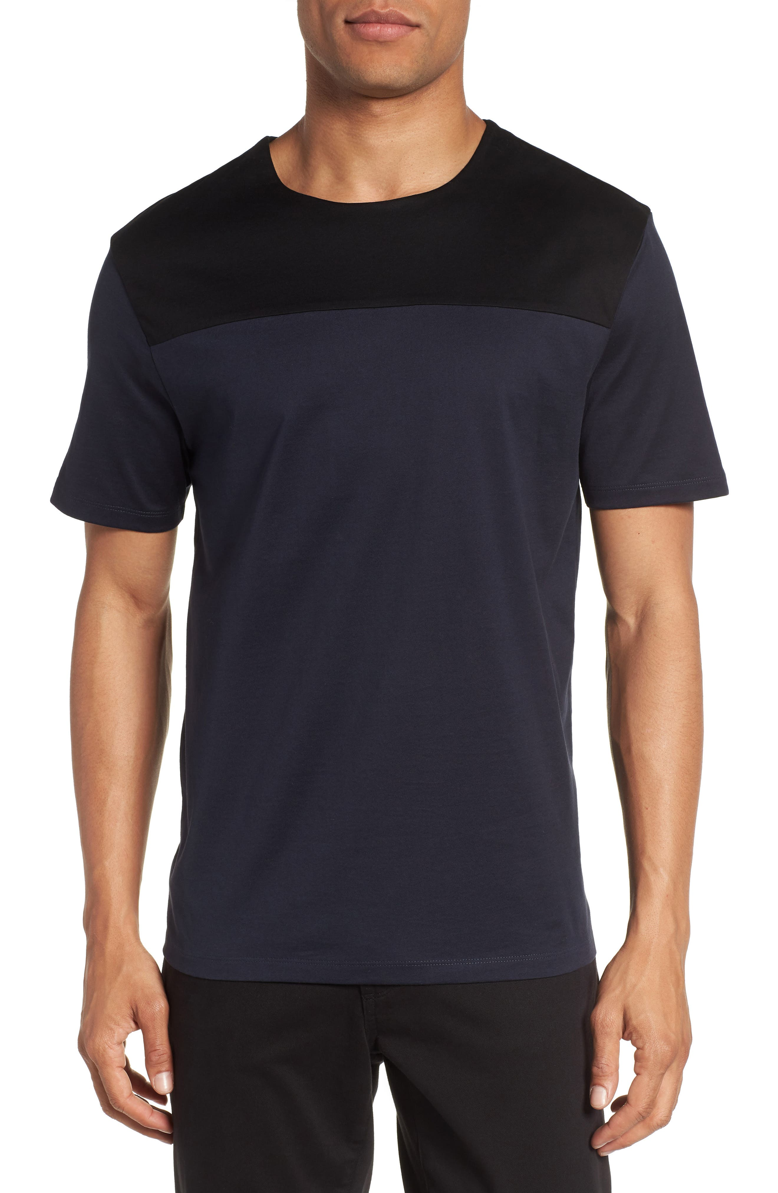 Block Crewneck T-Shirt,                             Main thumbnail 1, color,                             Navy Night Block