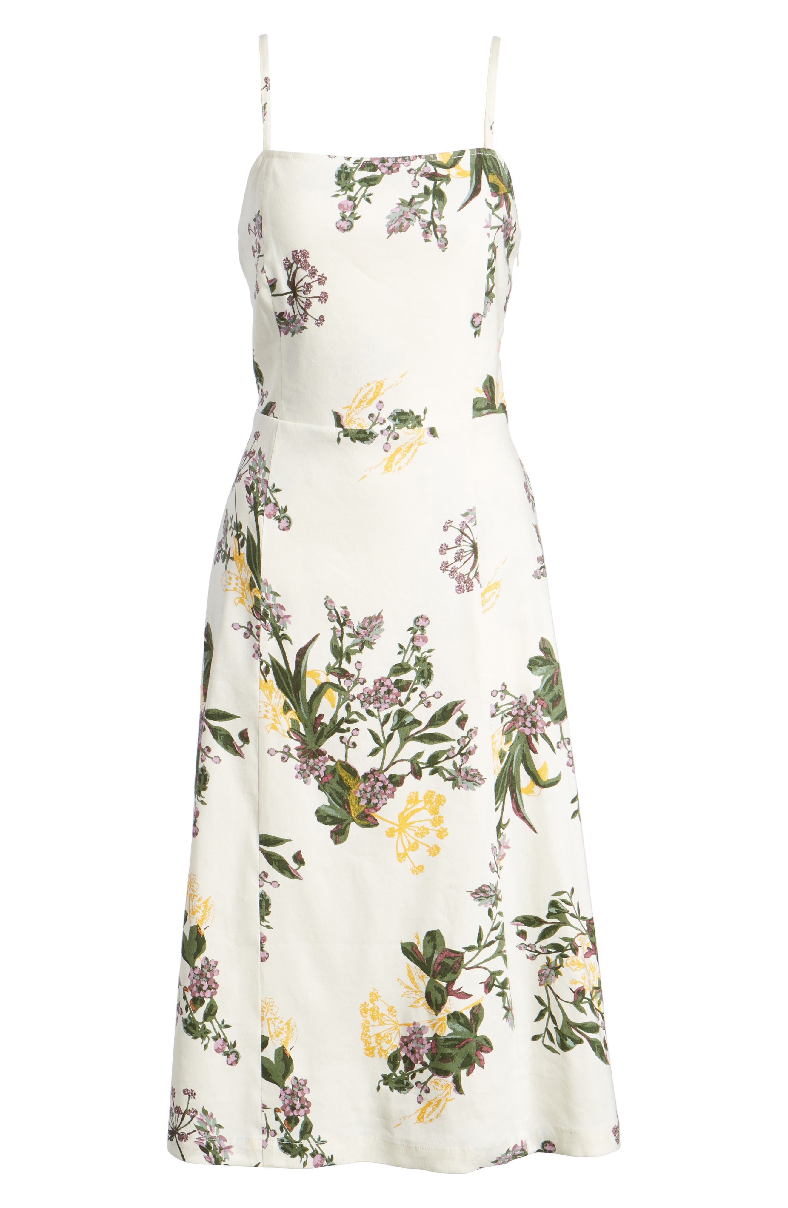 Floral Print Midi Dress,                             Alternate thumbnail 7, color,                             Ivory Ghost Floral