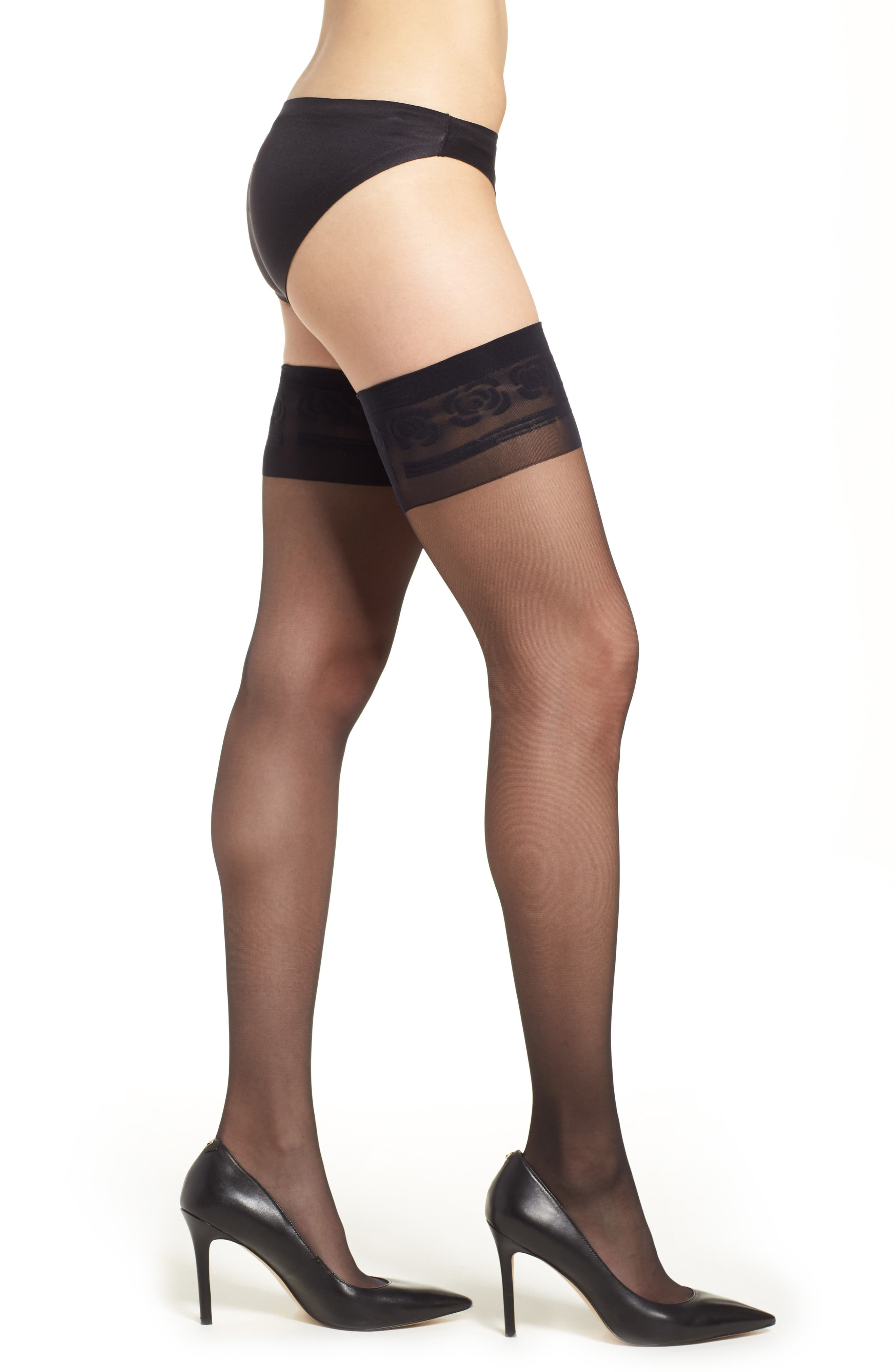 Component Sheer Stay-Up Stockings,                         Main,                         color, Black
