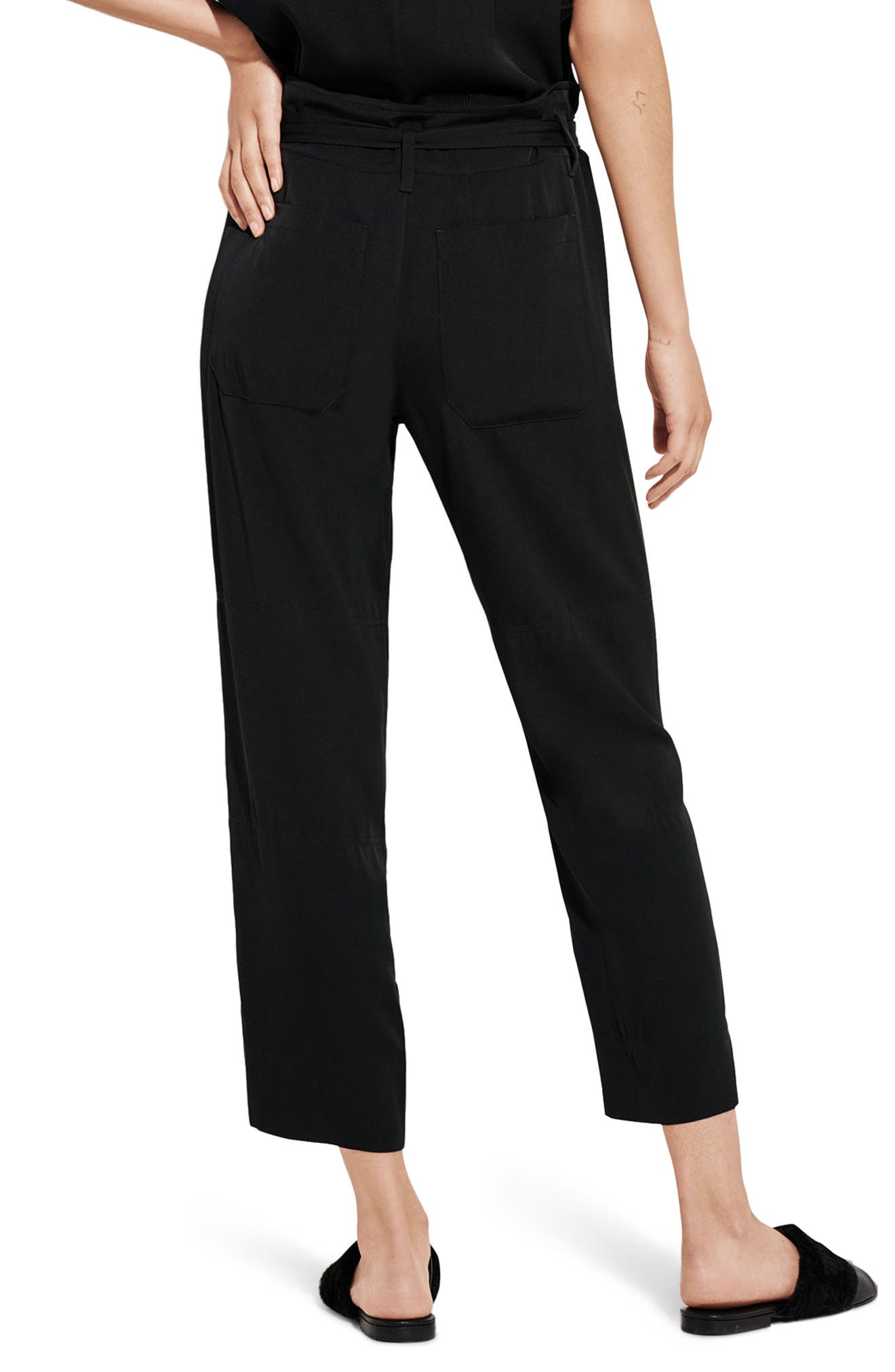 The Mirage High Waist Crop Straight Leg Pants,                             Alternate thumbnail 2, color,                             Black