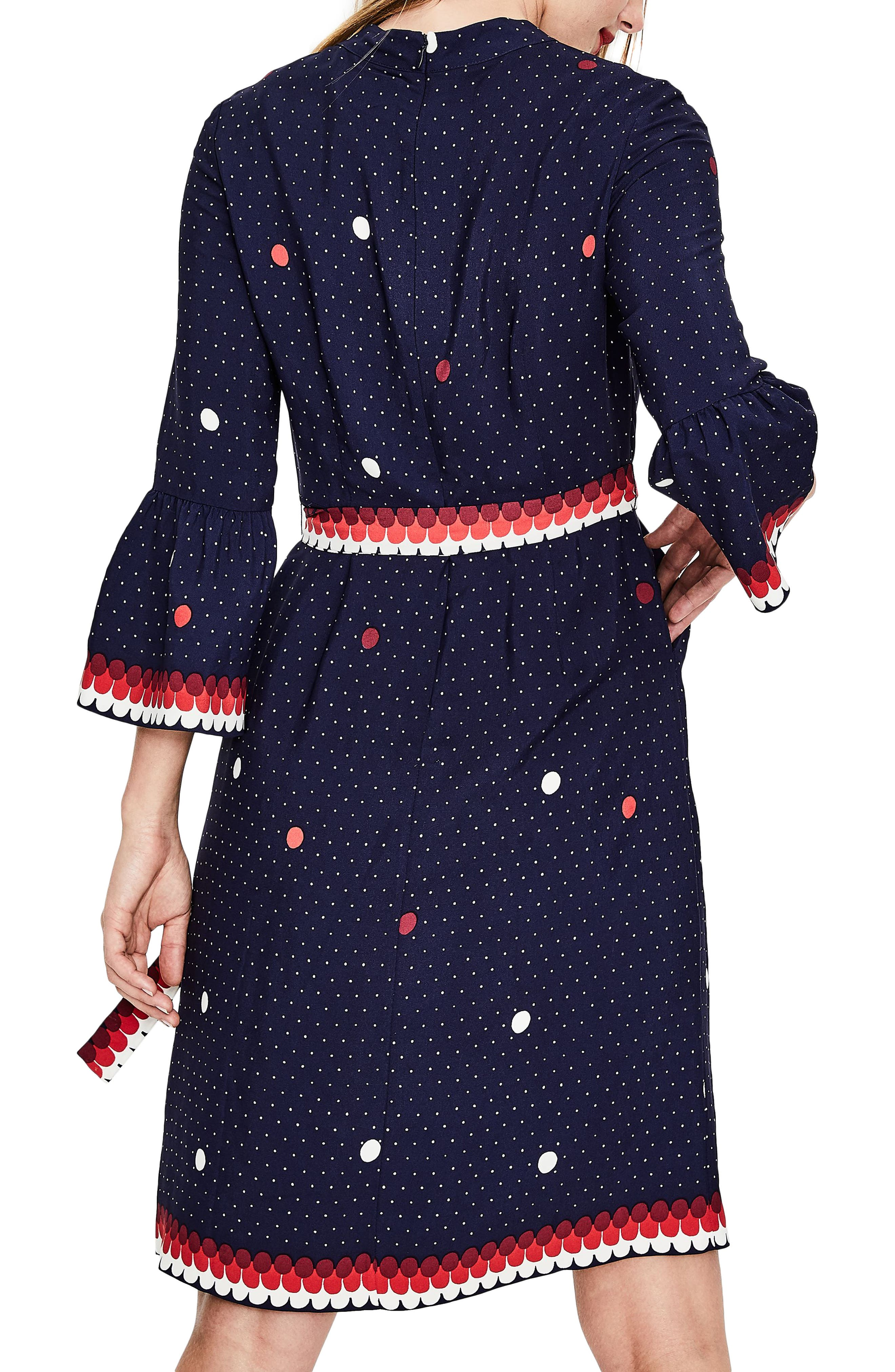 Ruffle Sleeve Polka Dot DRess,                             Alternate thumbnail 3, color,                             Navy/ Spot Border