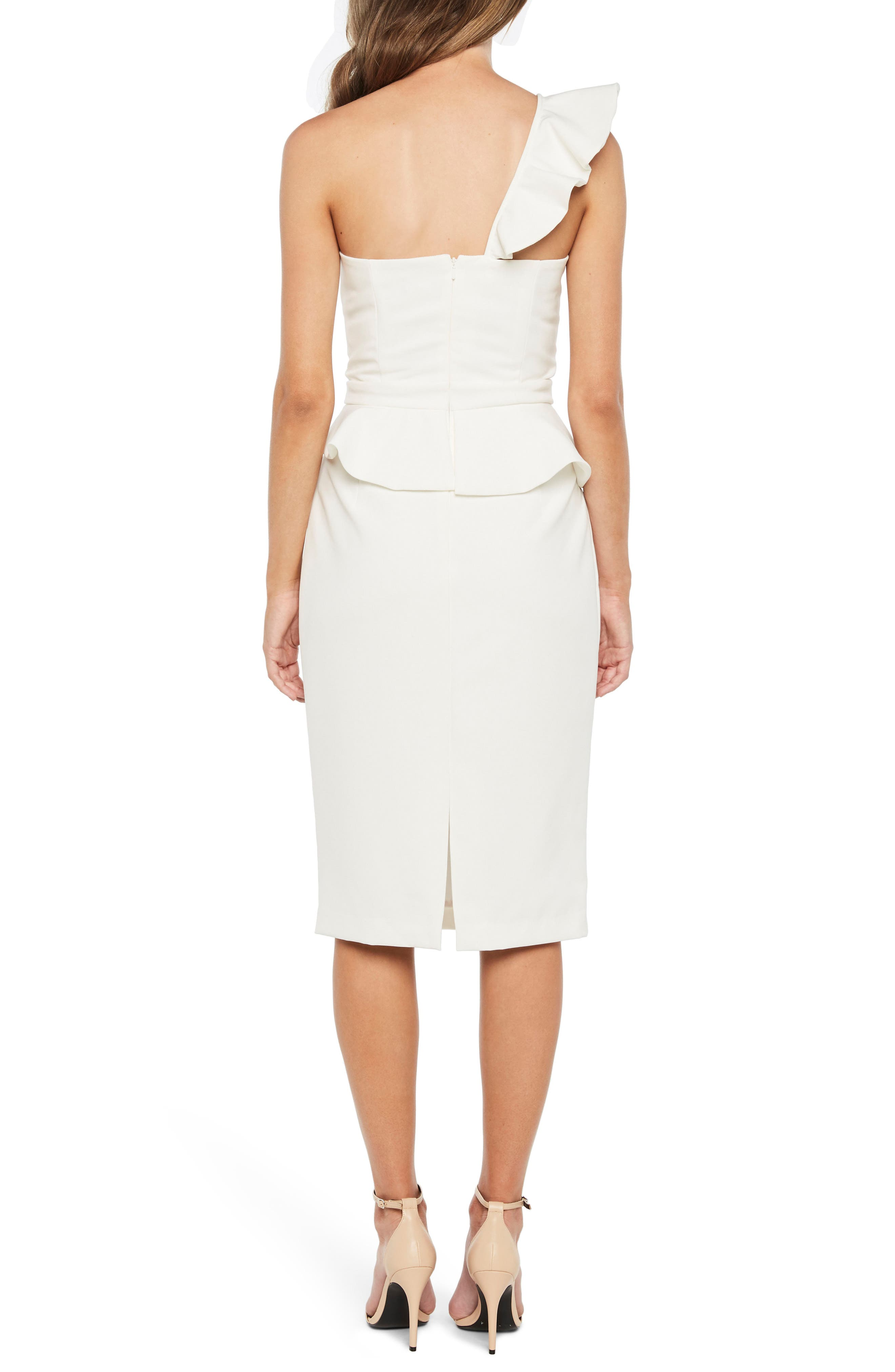 Alternate Image 2  - Bardot Camellia One-Shoulder Sheath Dress