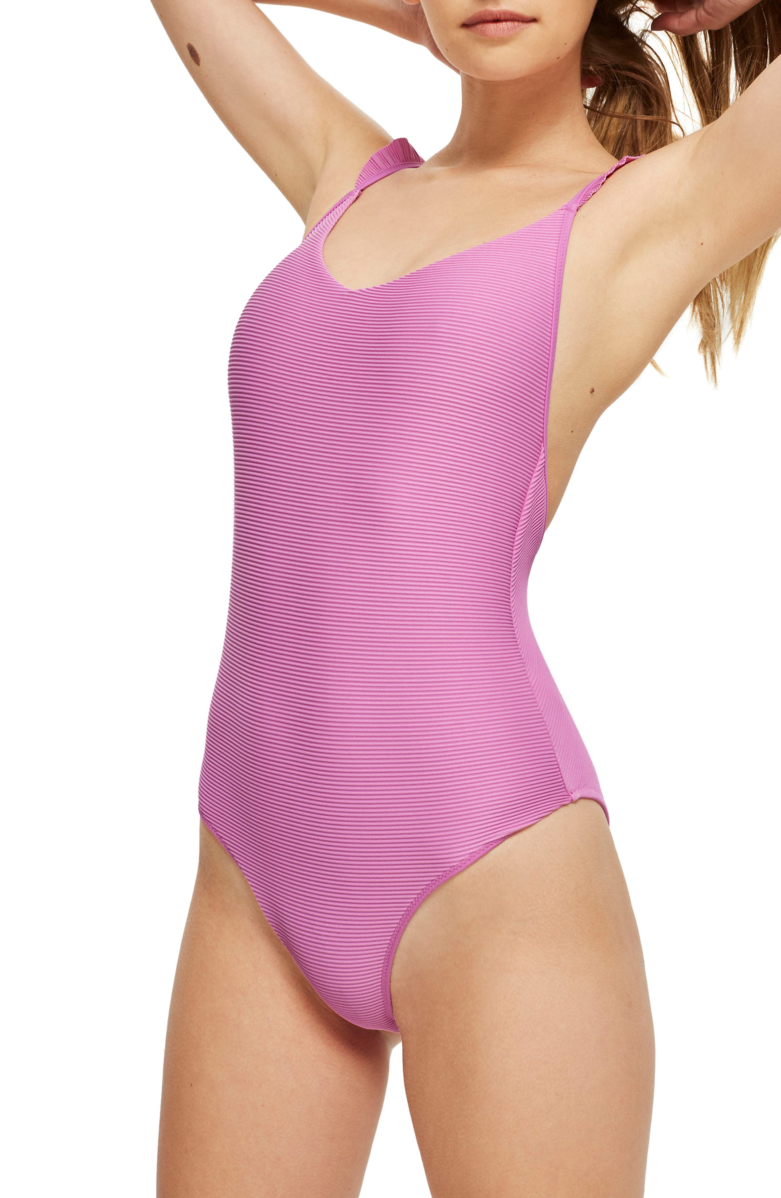 Frill Ribbed One-Piece Swimsuit,                         Main,                         color, Pink