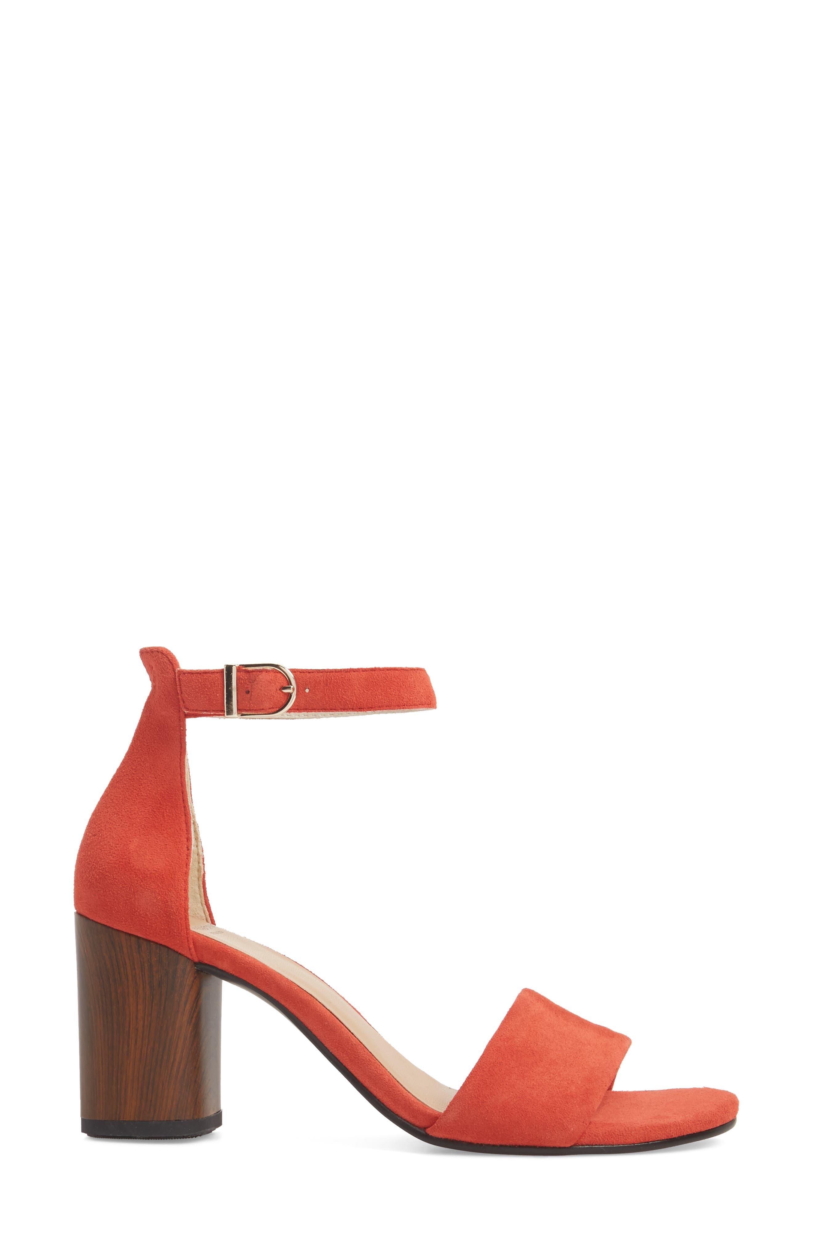 Carol Ankle Strap Sandal,                             Alternate thumbnail 3, color,                             Coral Suede