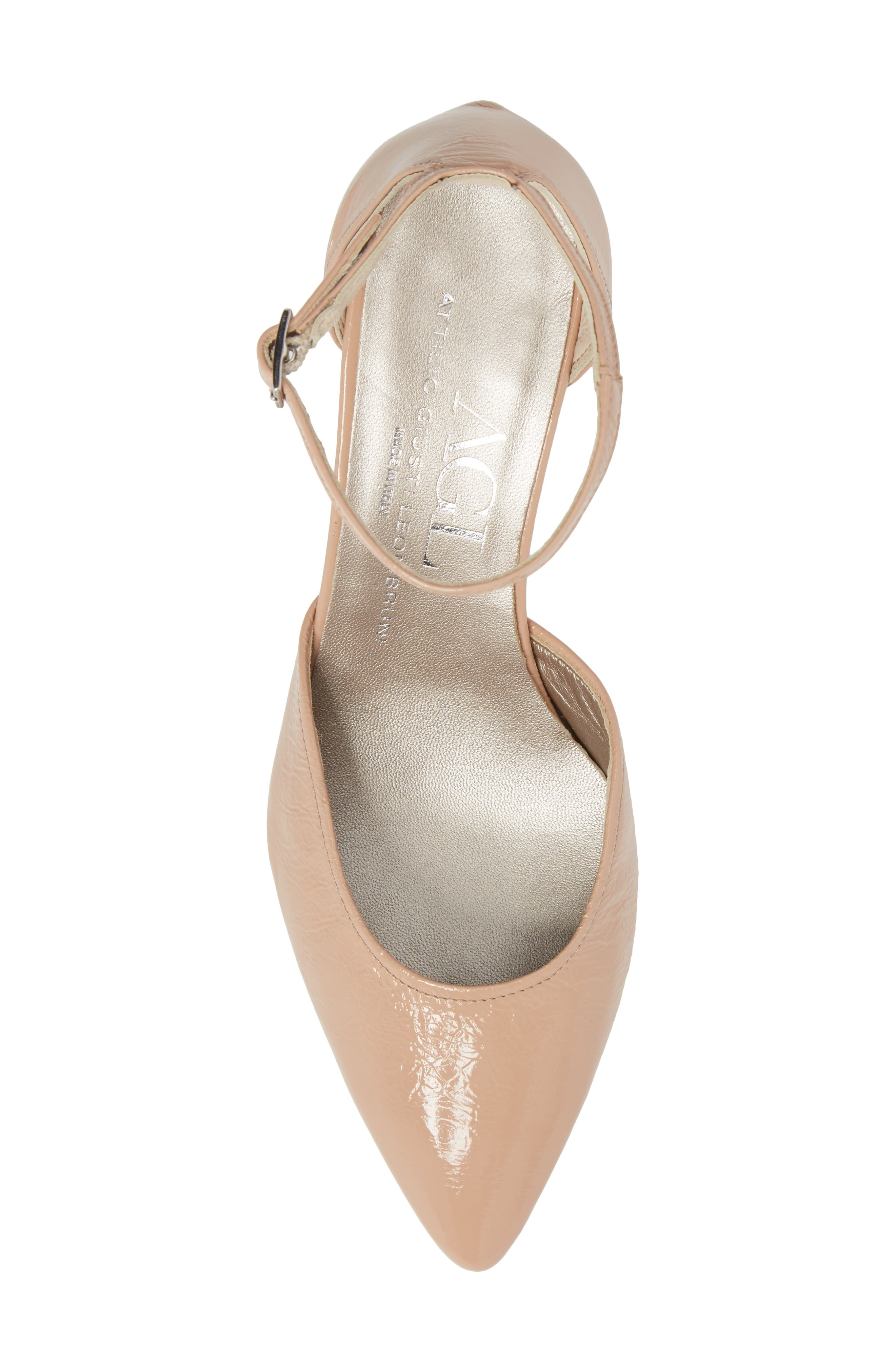 d'Orsay Ankle Strap Pump,                             Alternate thumbnail 5, color,                             Nude Glammy Leather