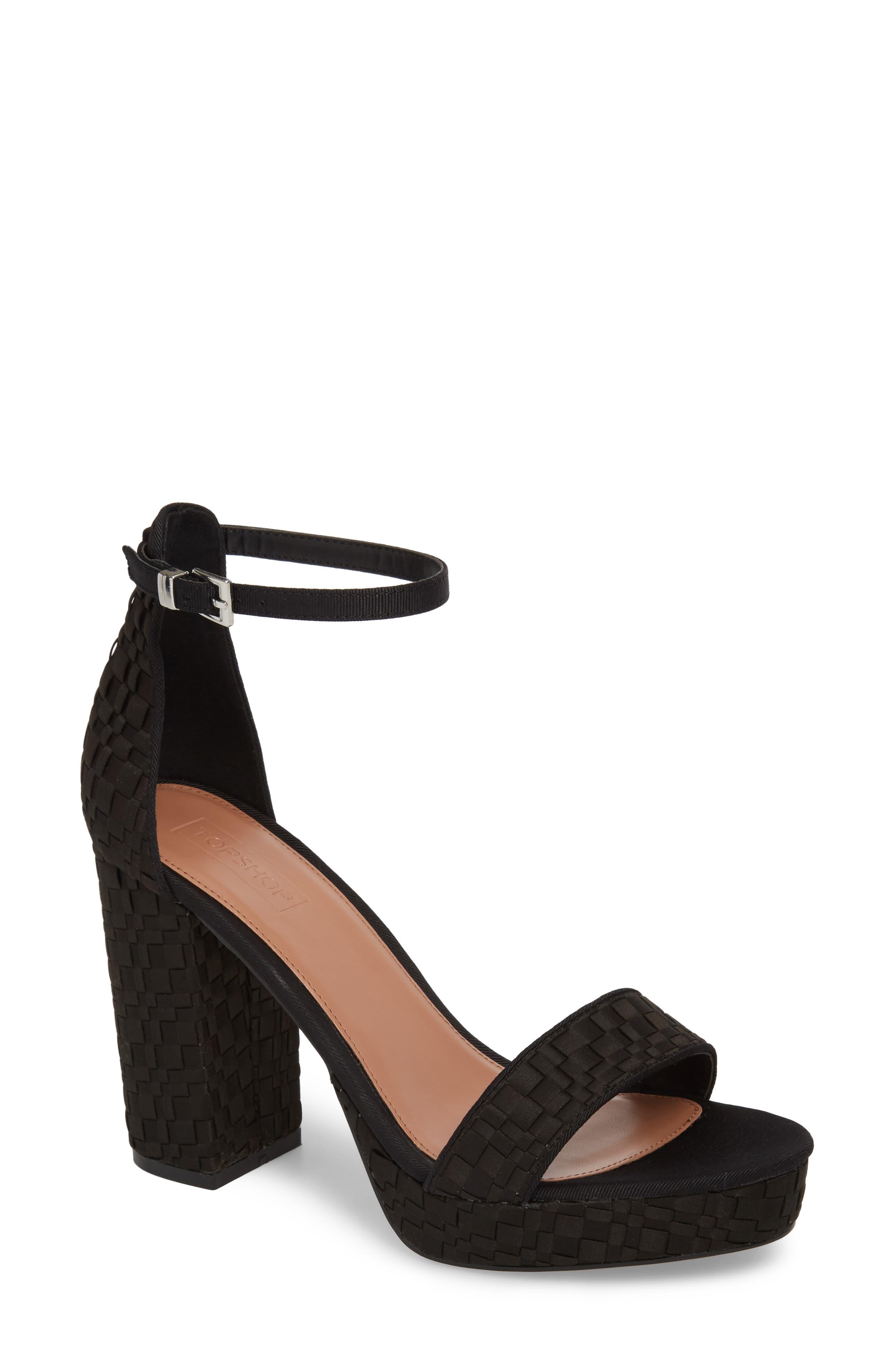 Sloane Woven Platform Sandal,                             Main thumbnail 1, color,                             Black