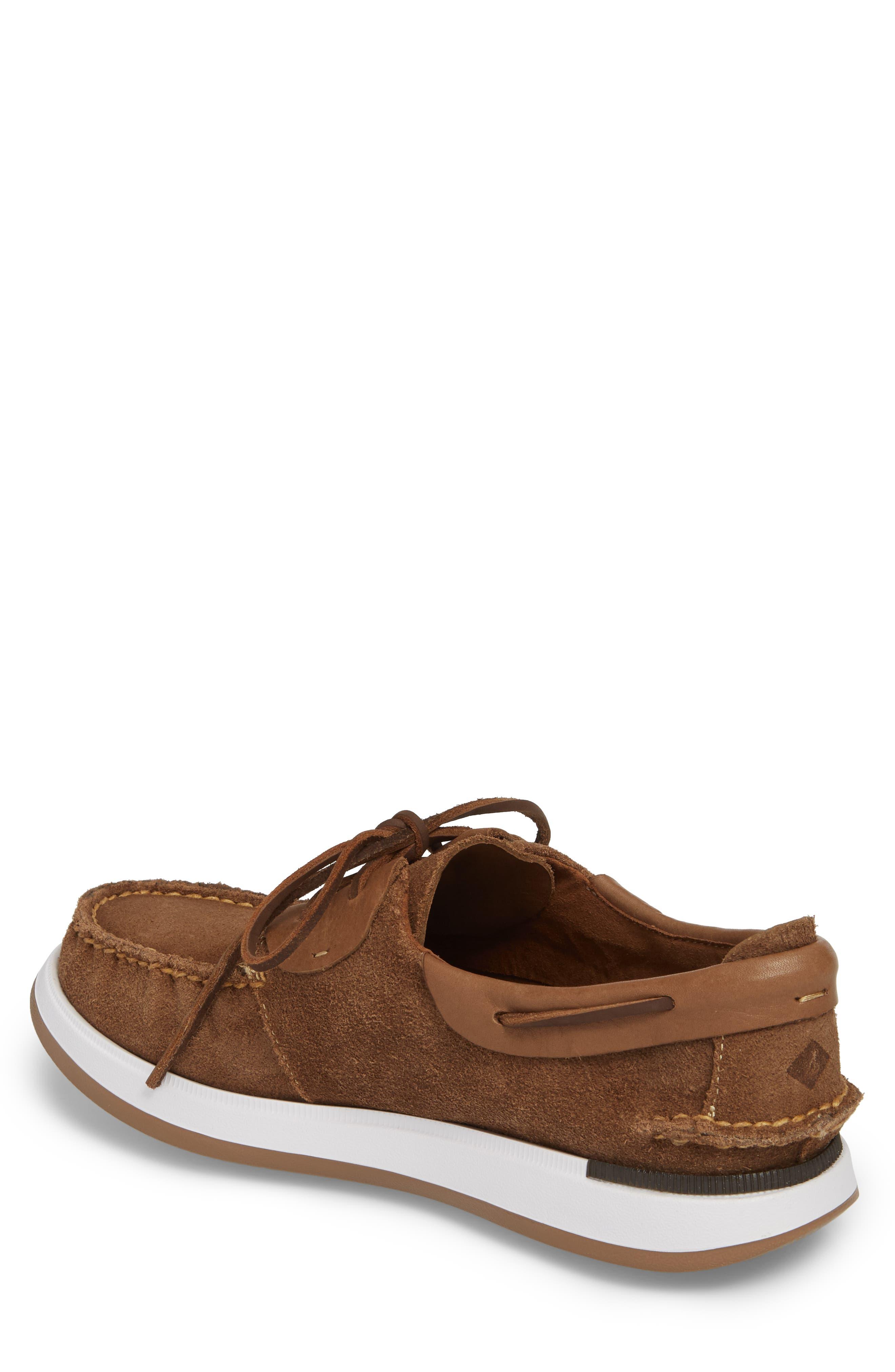 Caspian Boat Shoe,                             Alternate thumbnail 2, color,                             Tan Leather/ Suede