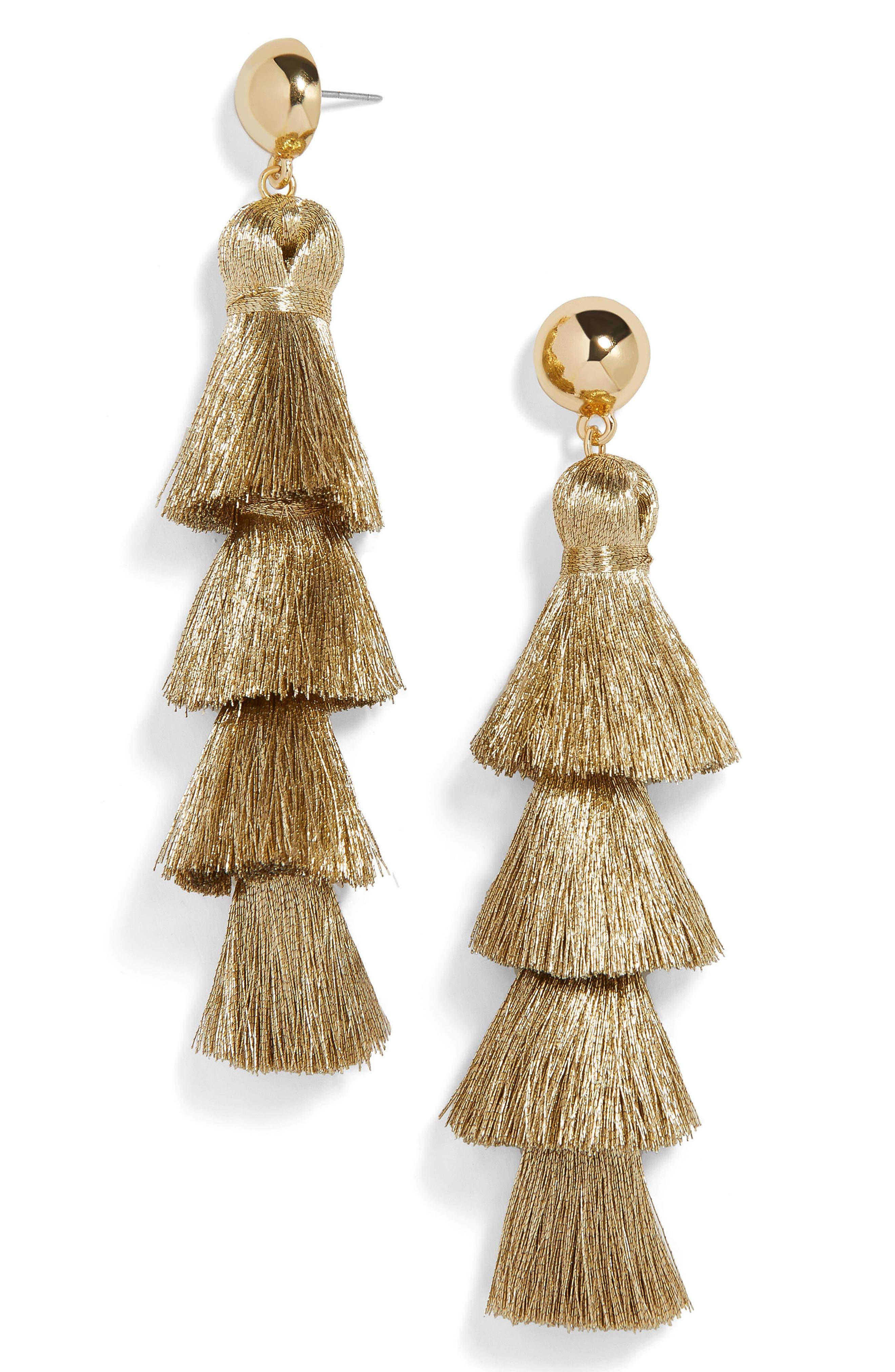 Gabriela Fringe Tassel Earrings,                         Main,                         color, Gold