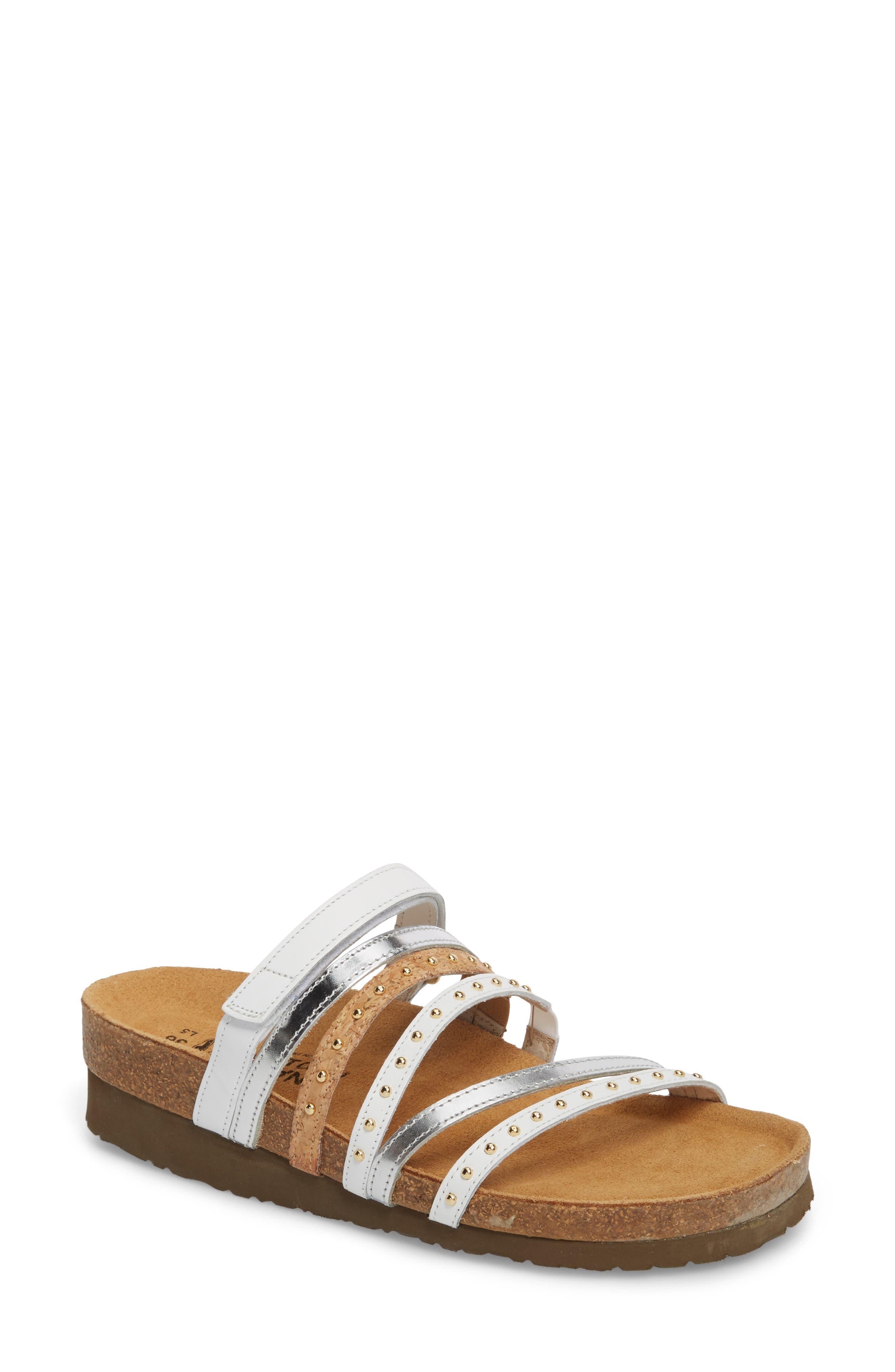 Prescott Sandal,                         Main,                         color, White/ Silver Leather