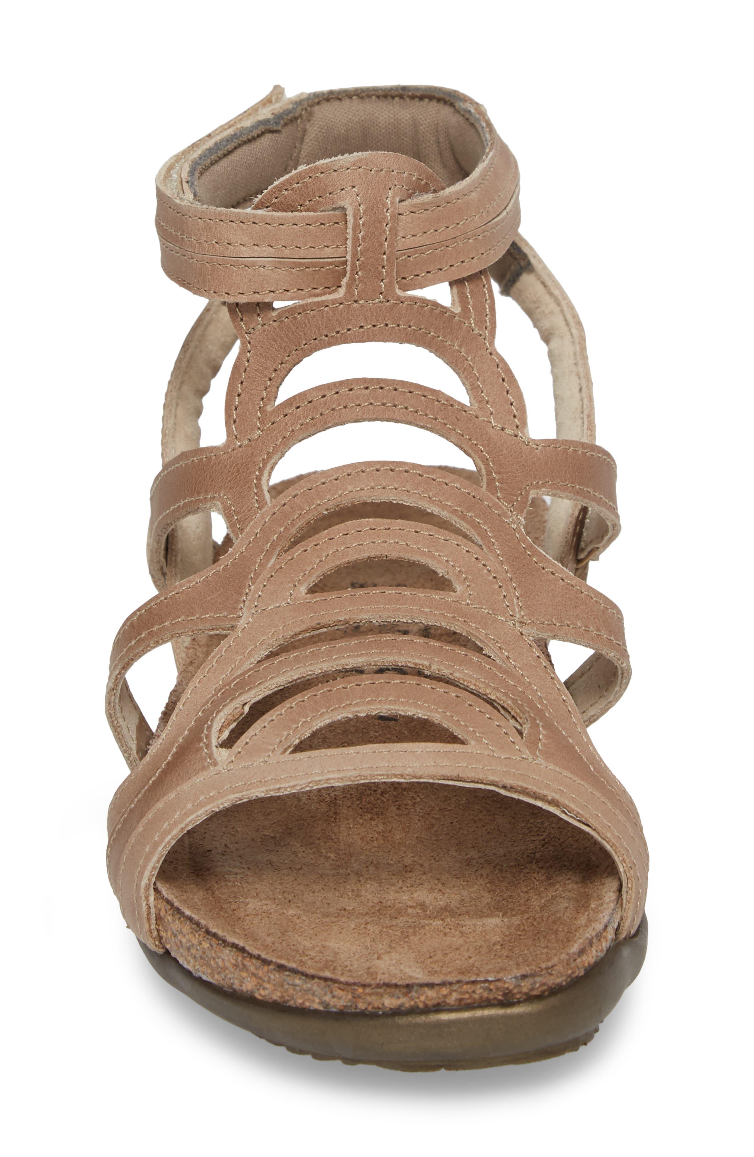'Sara' Gladiator Sandal,                             Alternate thumbnail 4, color,                             Khaki Beige Leather