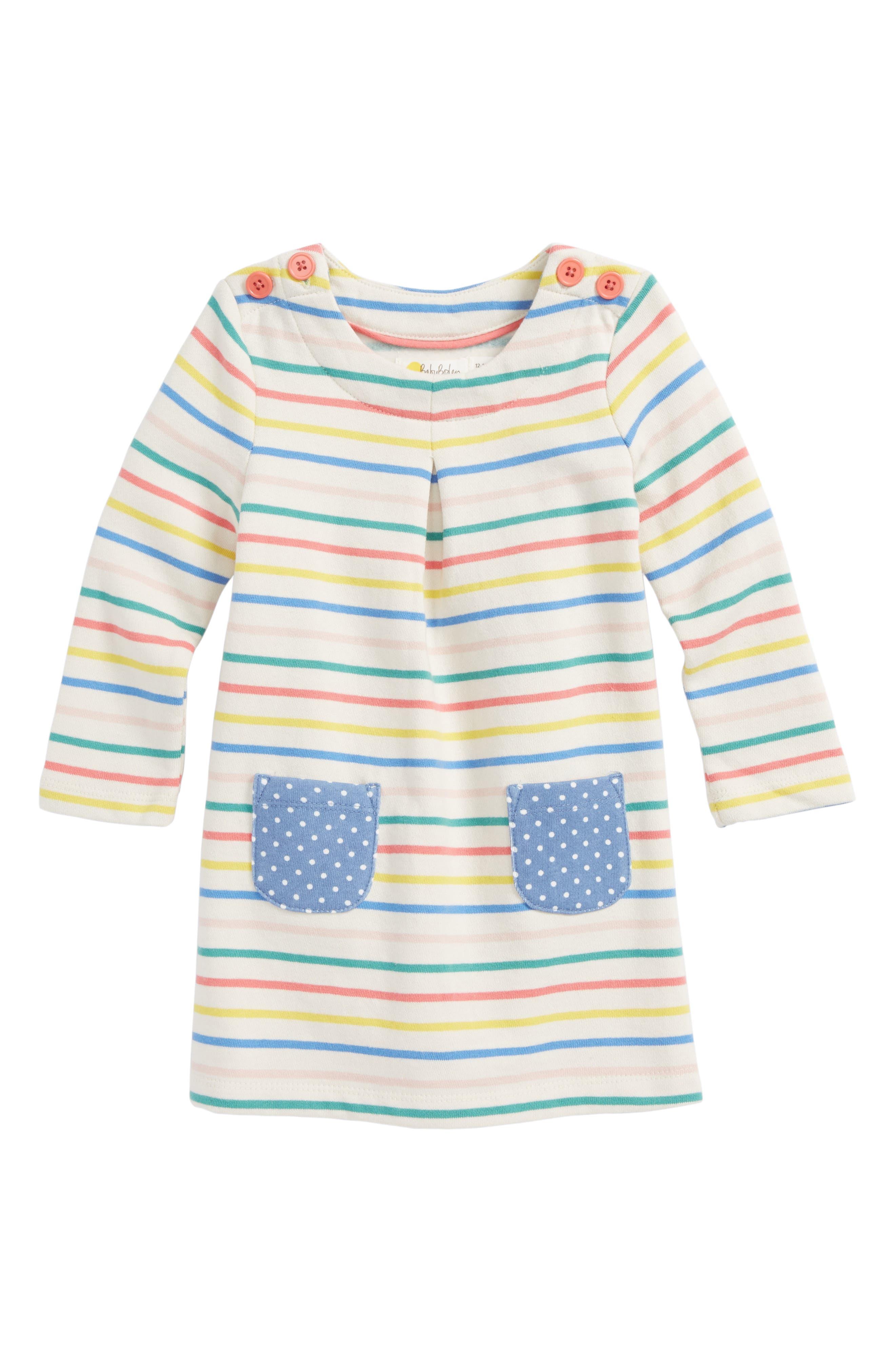Mini Boden Fun Breton Stripe Dress (Baby Girls & Toddler Girls)