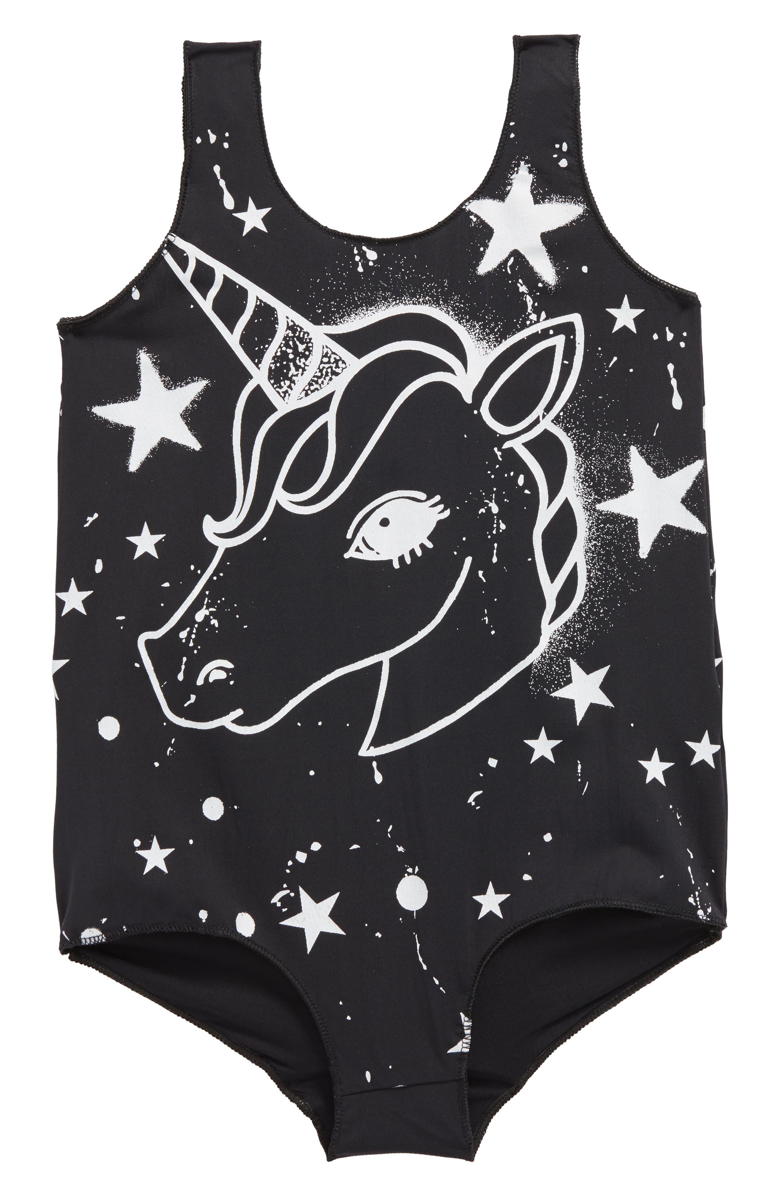 Unicorn One-Piece Swimsuit,                             Main thumbnail 1, color,                             Black Unicorn