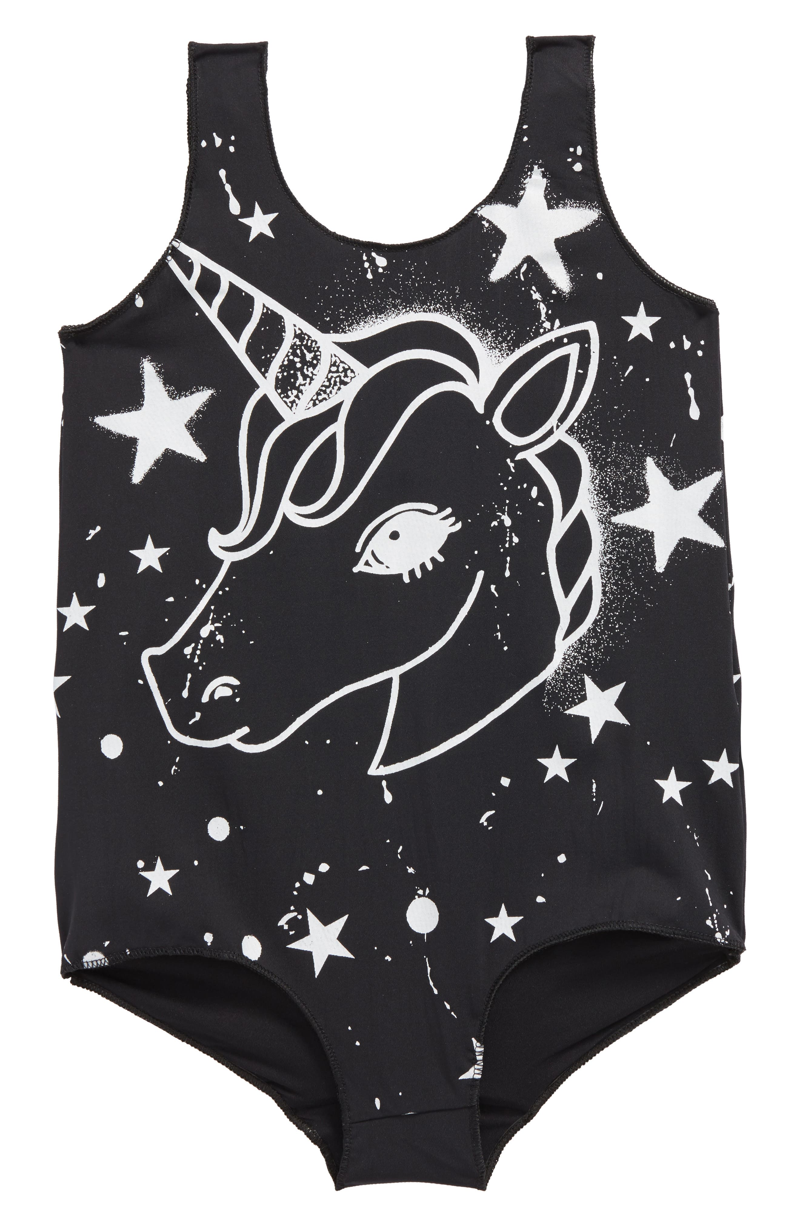 Main Image - Plastic Jus Unicorn One-Piece Swimsuit (Toddler Girls, Little Girls & Big Girls)
