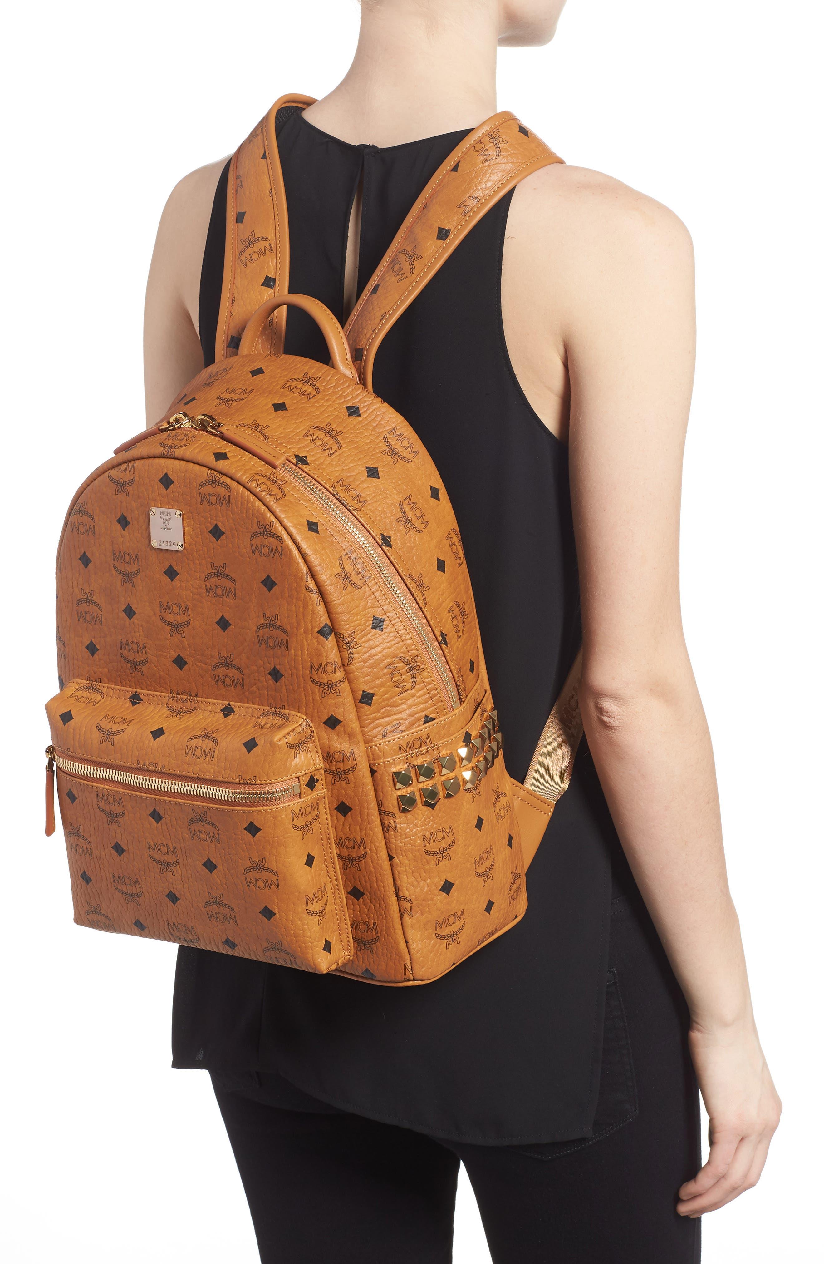 Medium Stark Side Stud Coated Canvas Backpack,                             Alternate thumbnail 2, color,                             Cognac