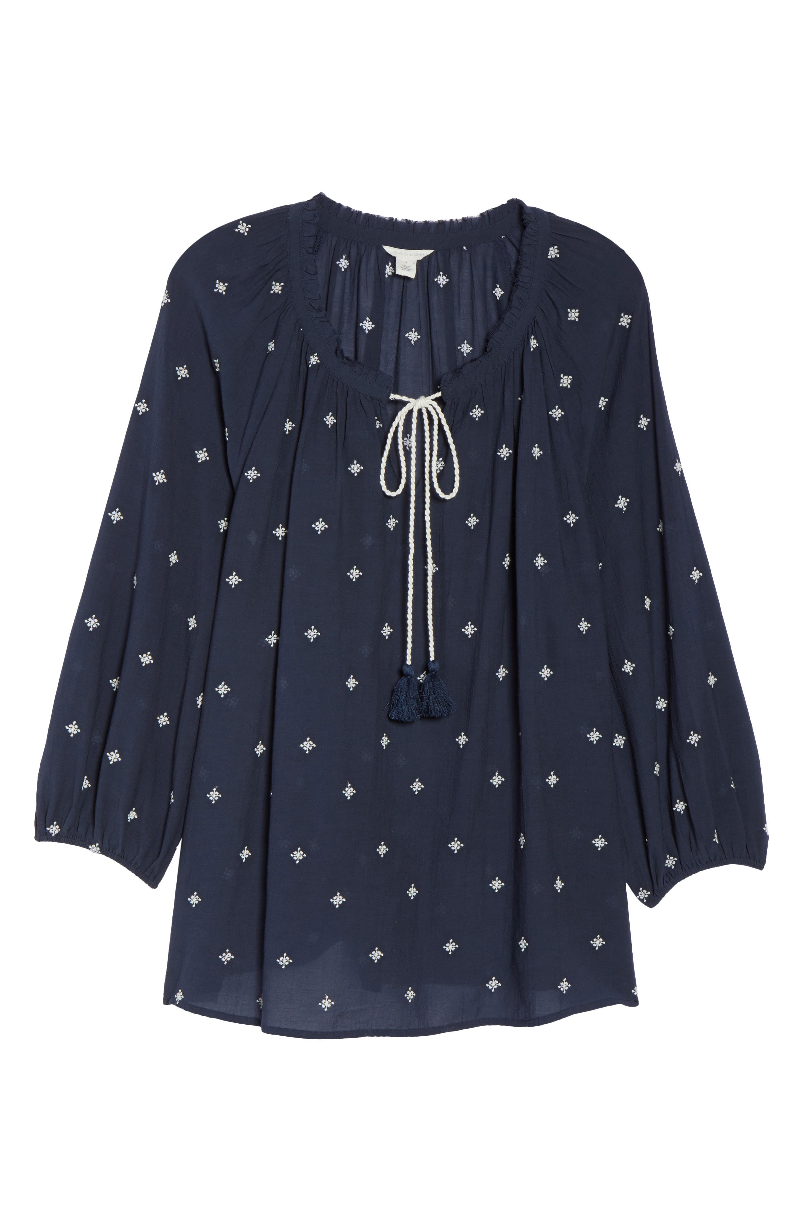 Embroidered Peasant Top,                             Alternate thumbnail 6, color,                             Navy Floral