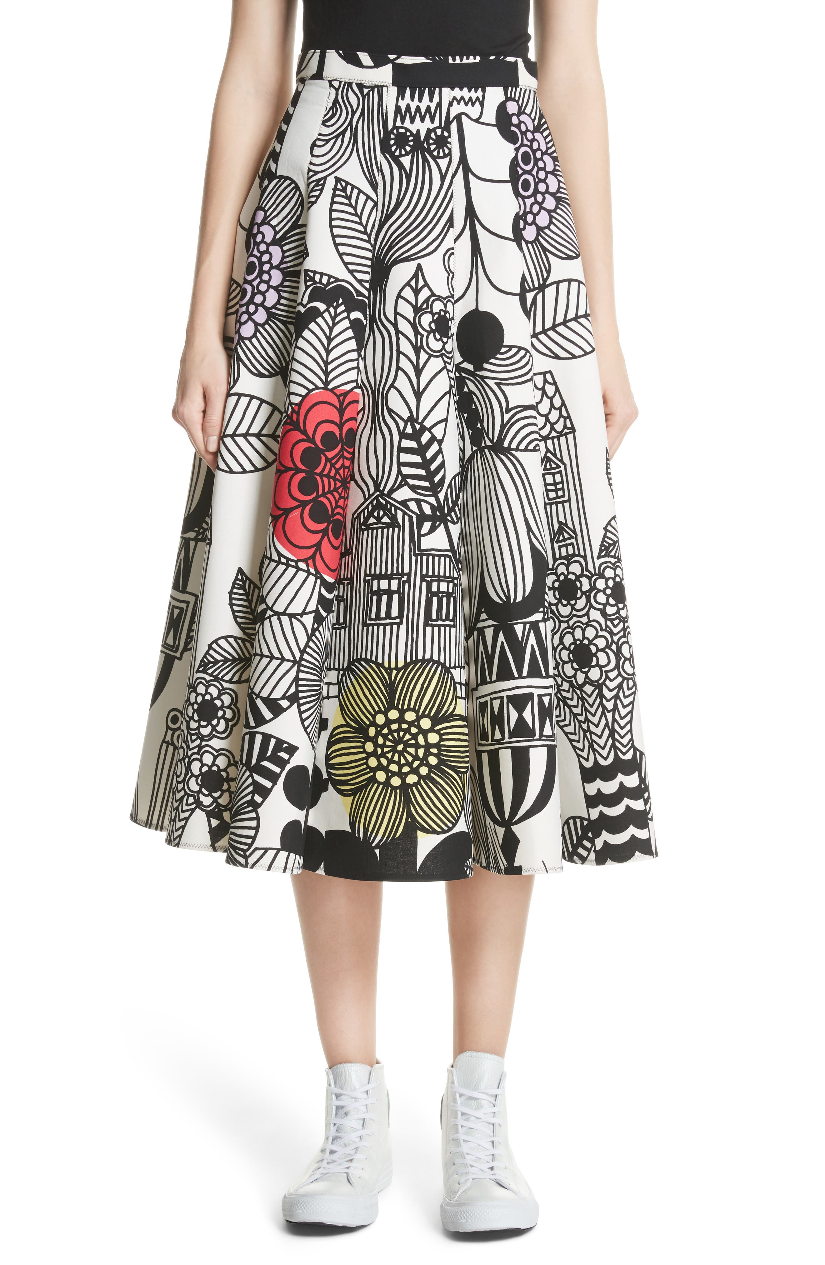 x Marimekko Vegetable Print Cotton Skirt,                             Main thumbnail 1, color,                             Wht/ Blk/ Ylw