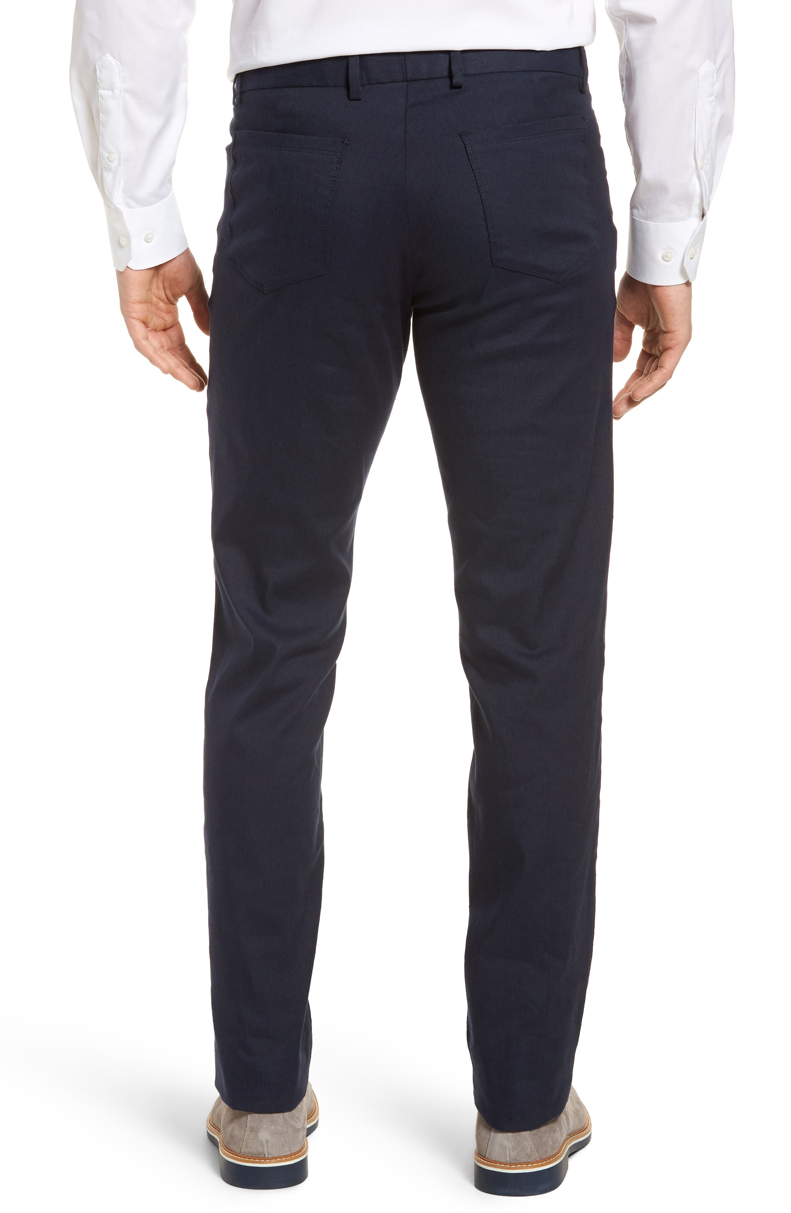 Flat Front Stretch Linen & Cotton Trousers,                             Alternate thumbnail 2, color,                             Navy
