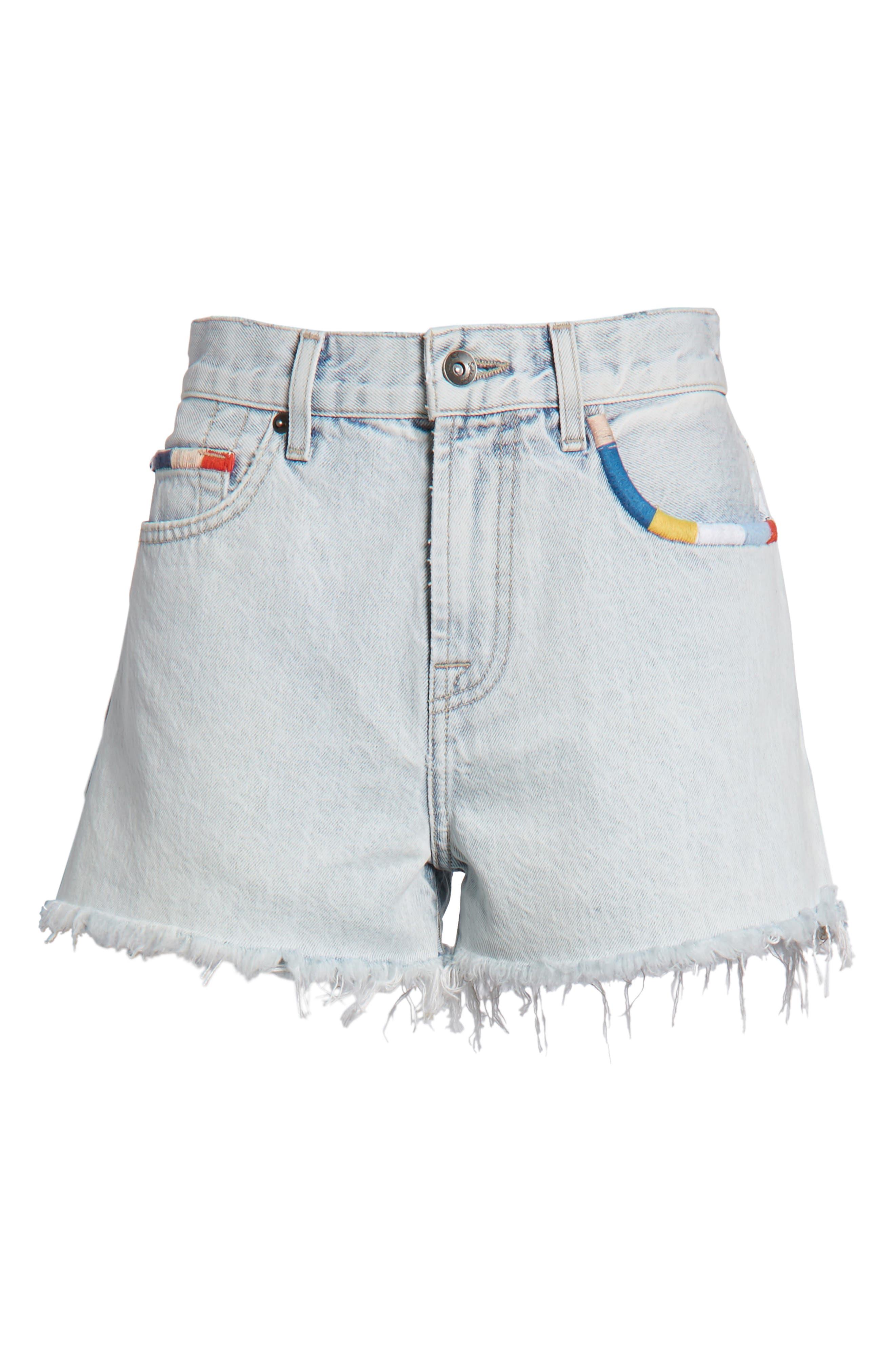 x Margherita Amore Denim Cutoff Shorts,                             Alternate thumbnail 6, color,                             Capriember