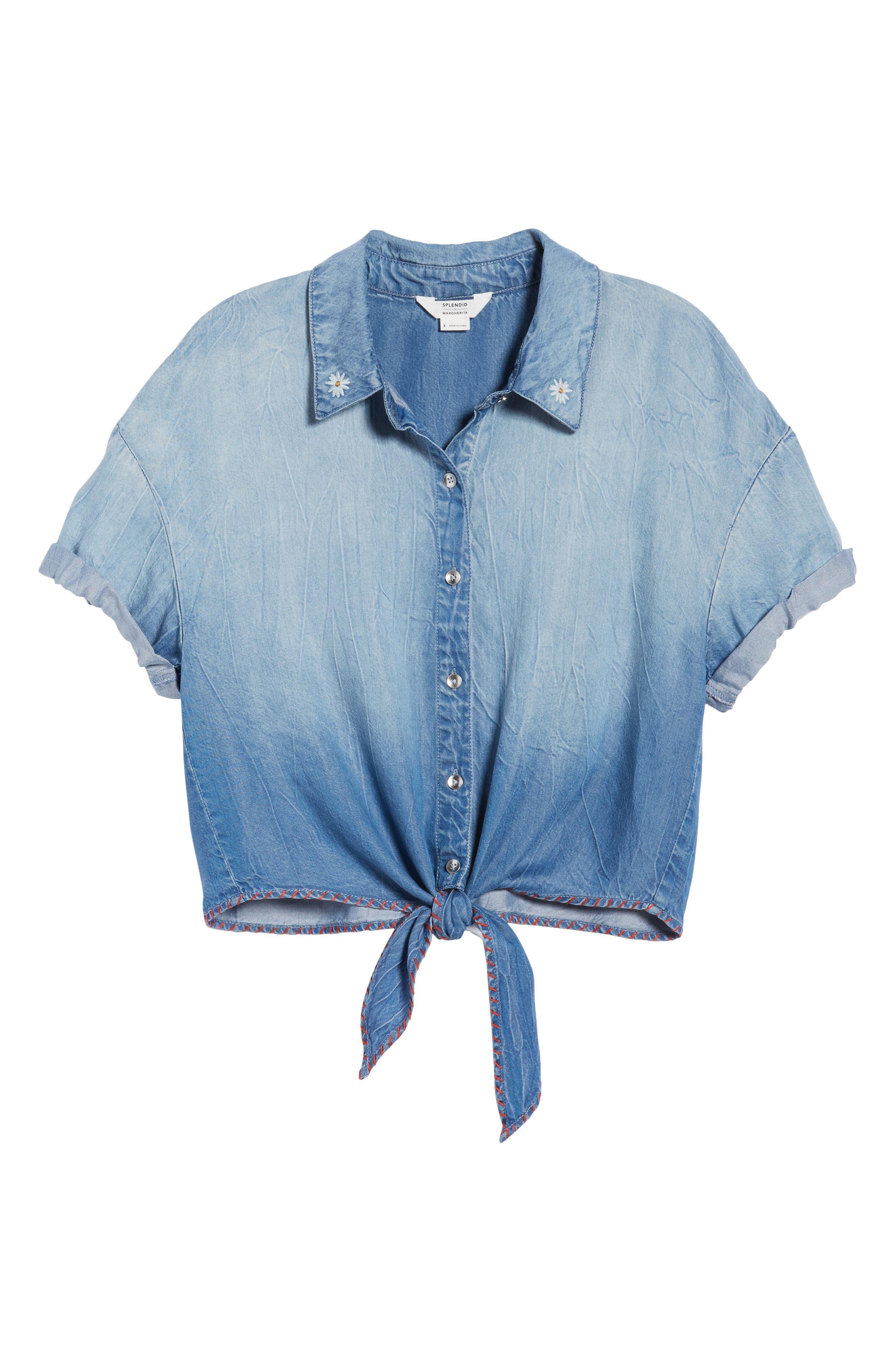 x Margherita Roma Indigo Shirt,                             Alternate thumbnail 6, color,                             Cielo Wash