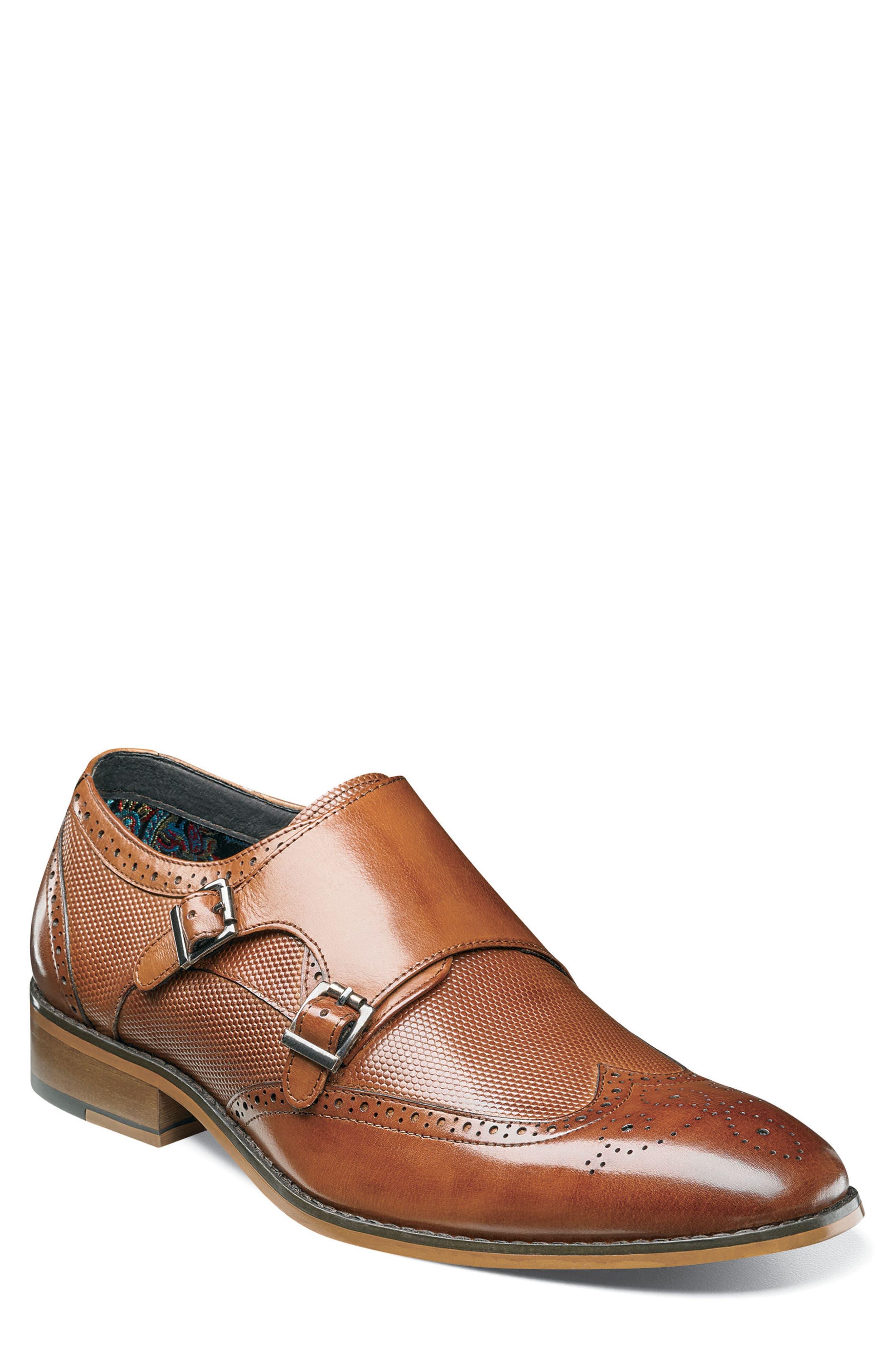 Lavine Wingtip Monk Shoe,                         Main,                         color, Saddle Tan Leather