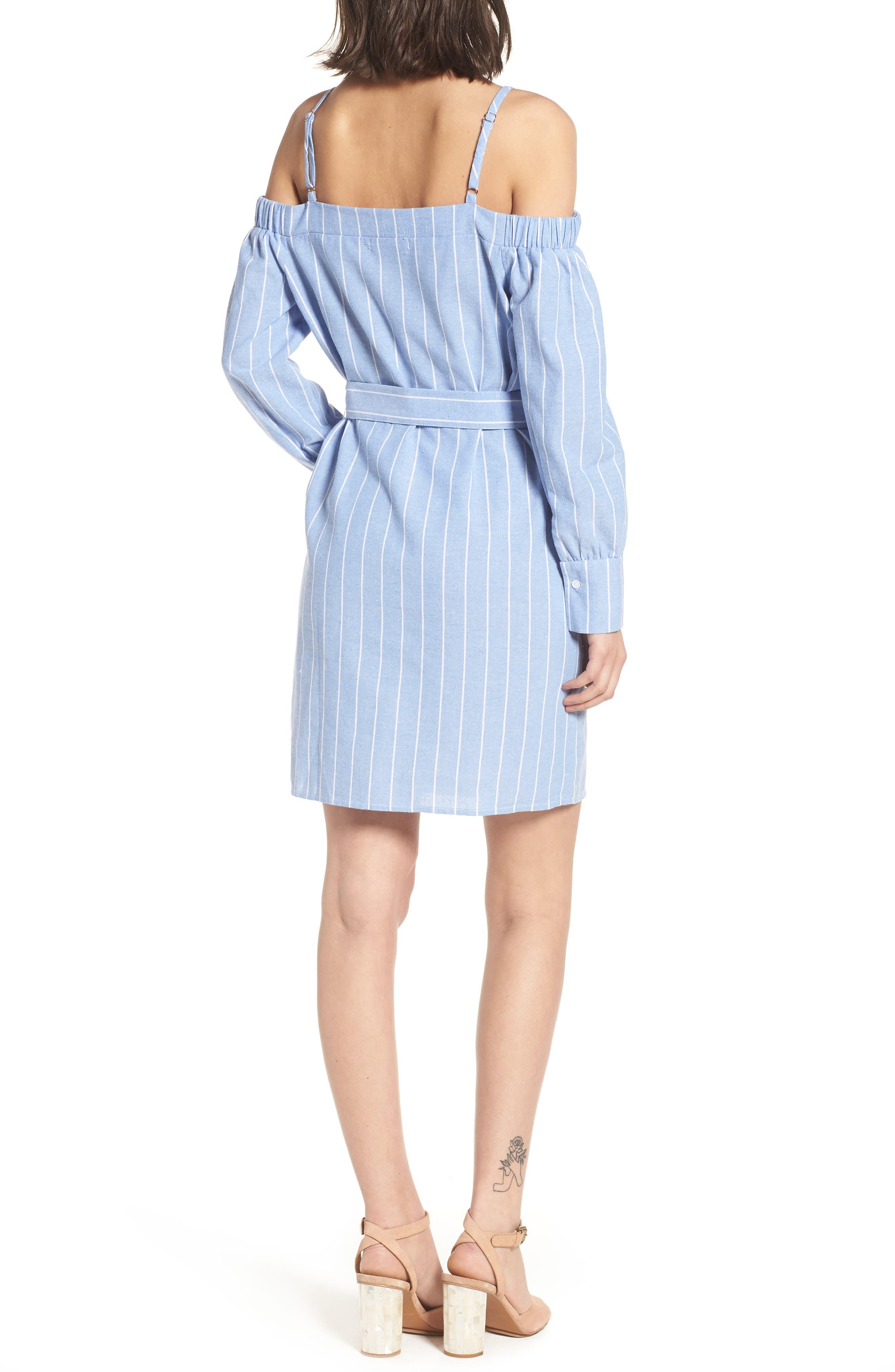 Bishop + Young Chrissy Cold Shoulder Dress,                             Alternate thumbnail 2, color,                             Blue White Stripe