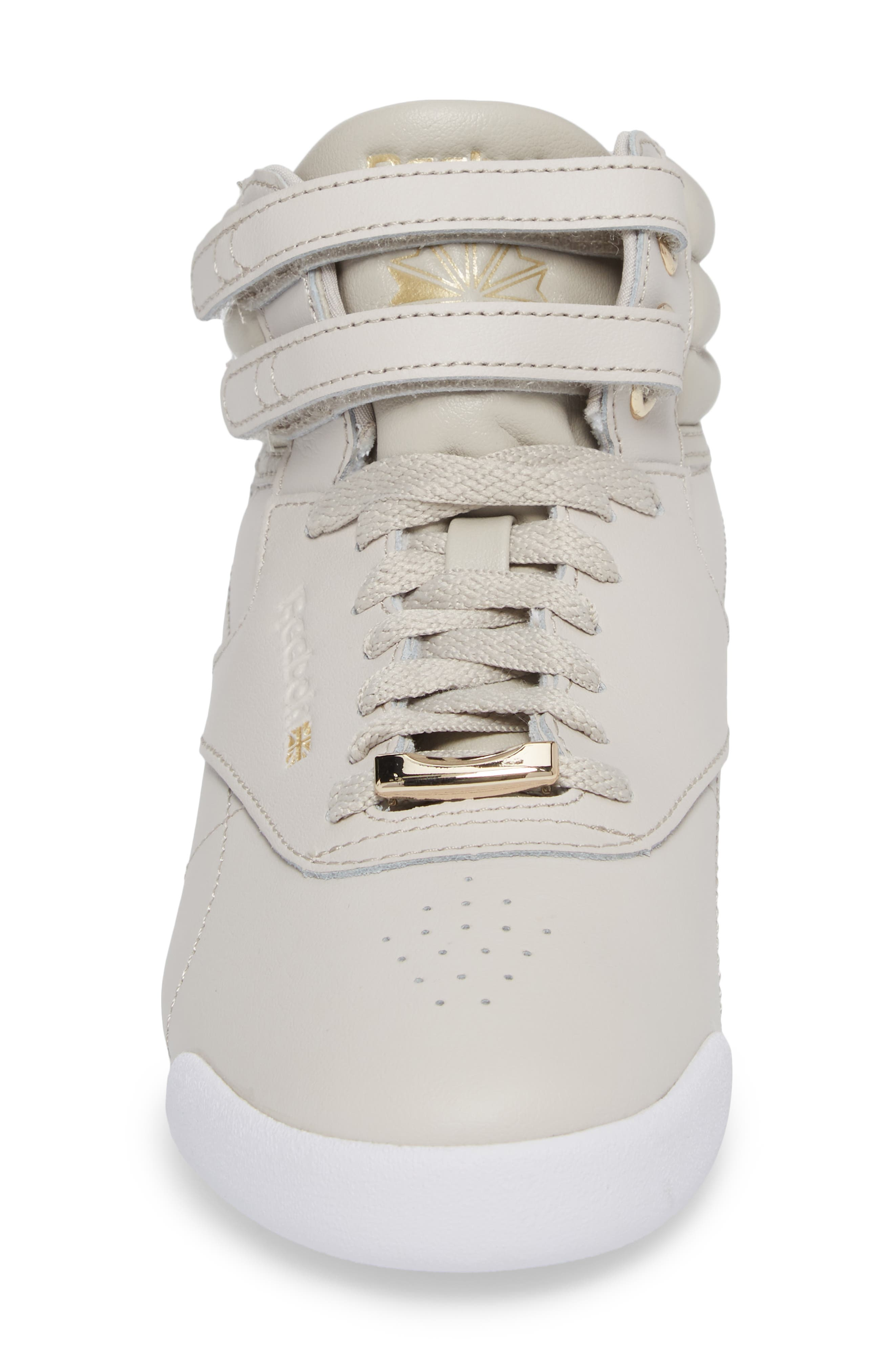 Freestyle Hi Muted Sneaker,                             Alternate thumbnail 4, color,                             Sandstone/ White
