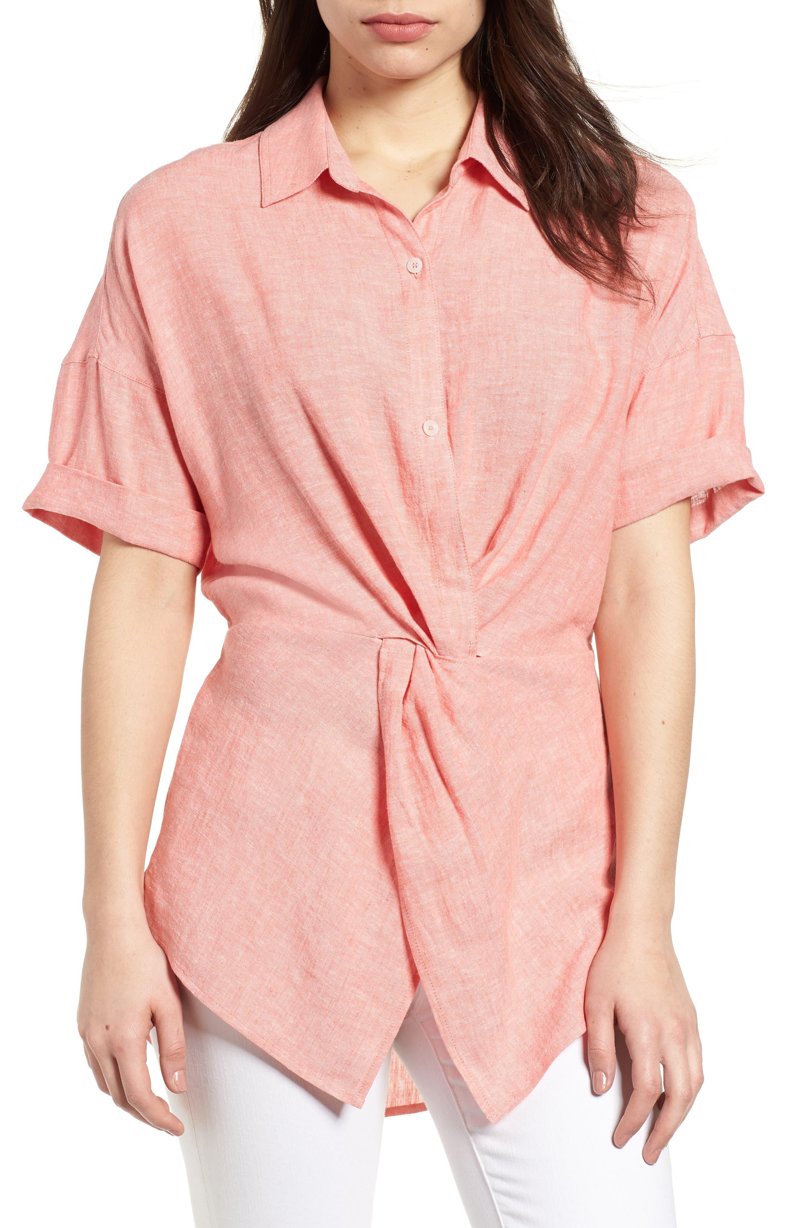 Twist Front Linen Blend Shirt,                         Main,                         color, Coral Rose Crossdye