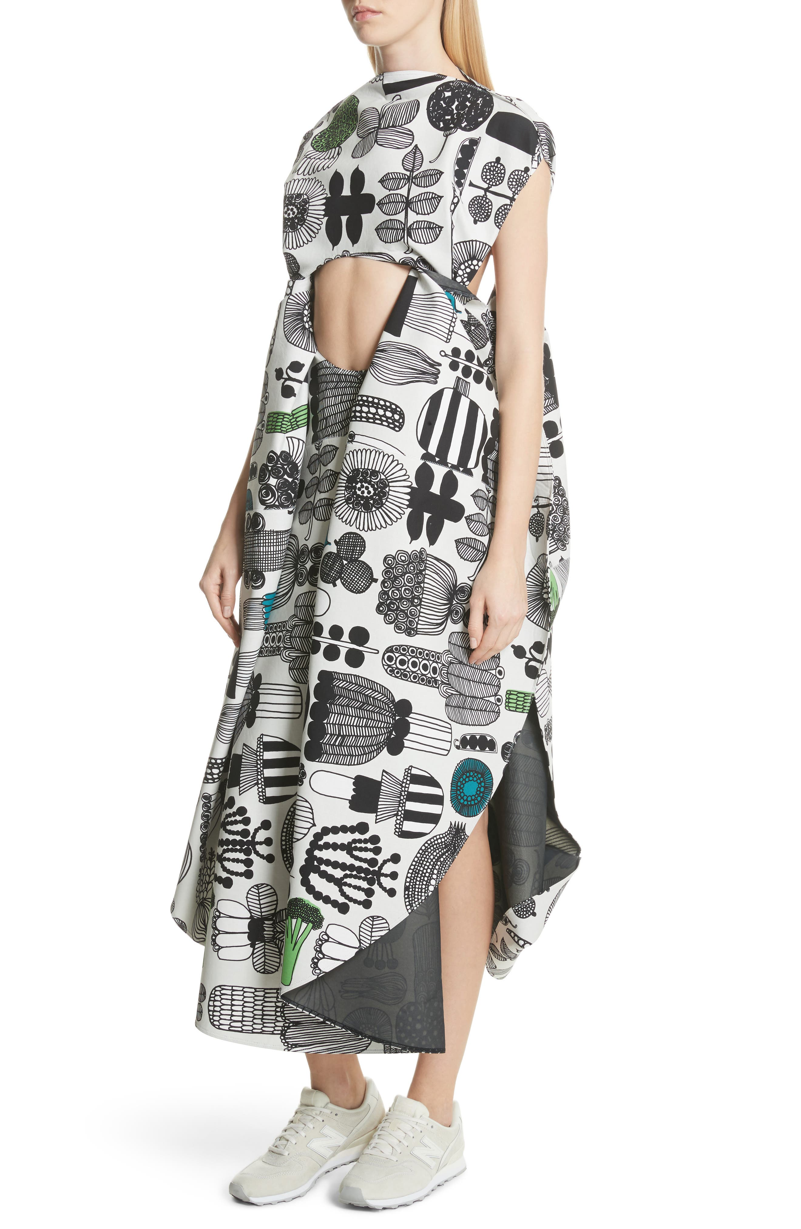 Vegetable Print Shift Dress,                             Alternate thumbnail 4, color,                             Gry/ Grn/ Blk