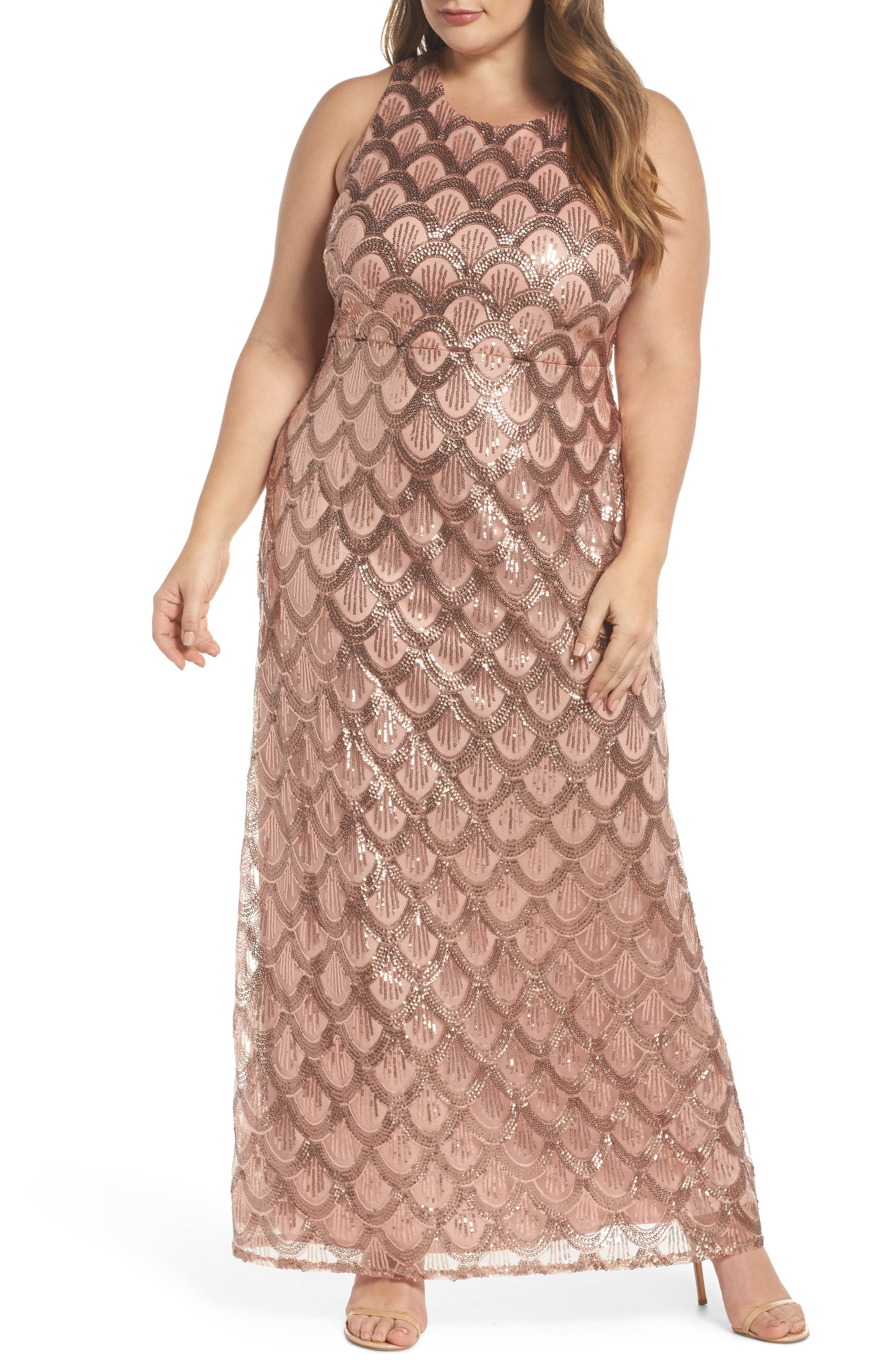 Sequin Cross Back Gown,                             Main thumbnail 1, color,                             Rose Gold