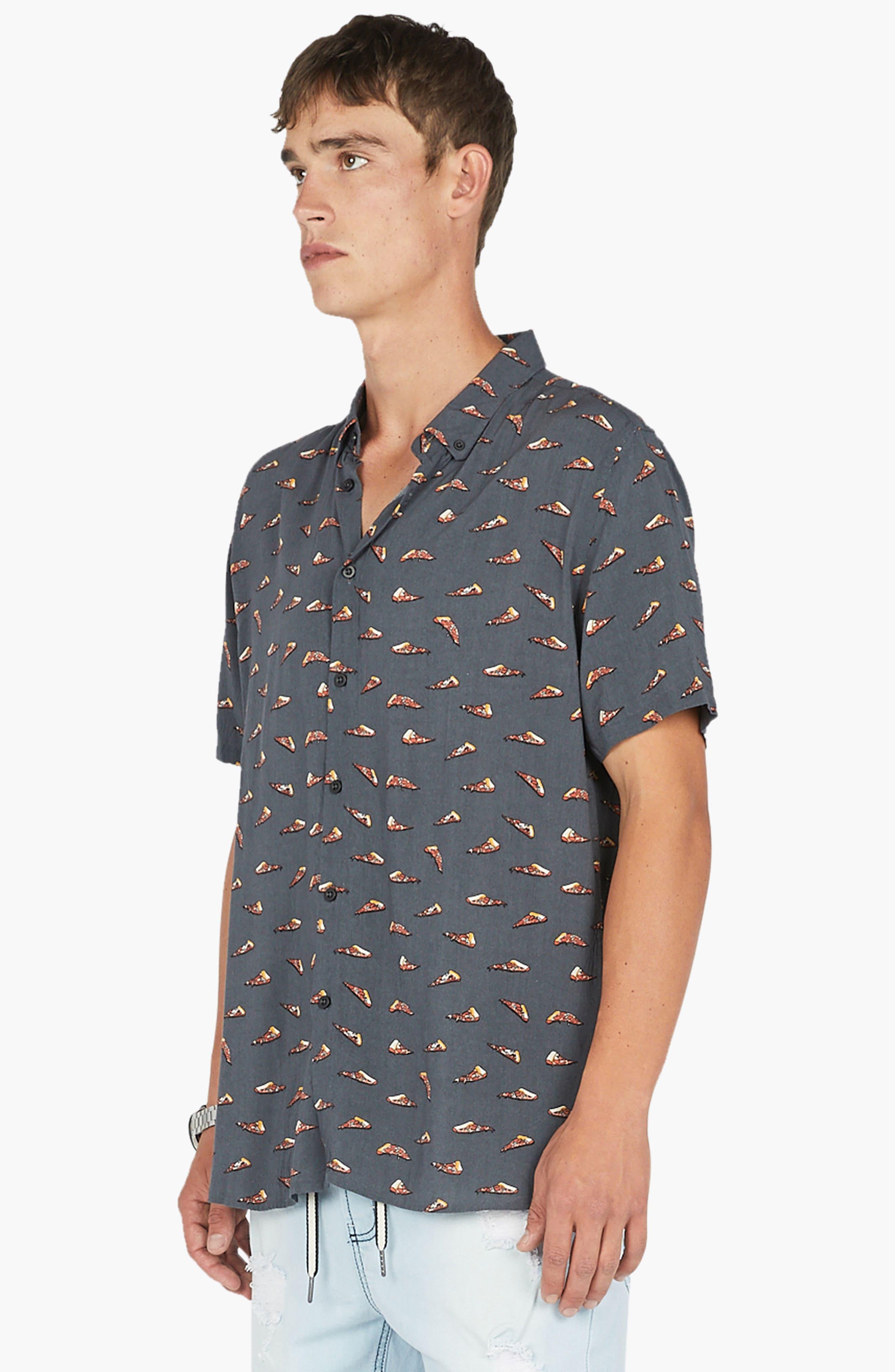 Holiday Woven Shirt,                             Alternate thumbnail 4, color,                             Black Pizza