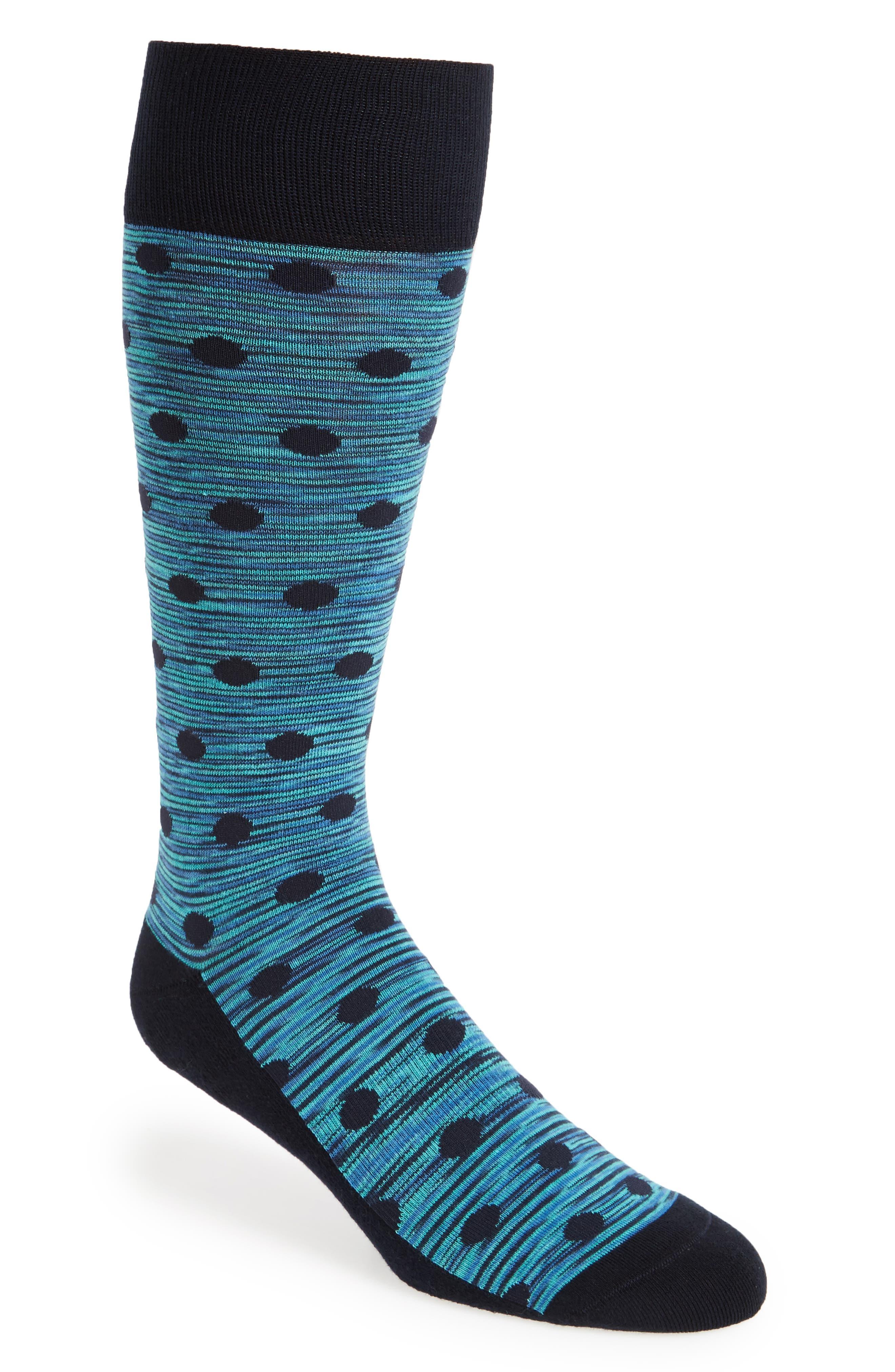 Space Dye Dot Socks,                             Main thumbnail 1, color,                             Navy/ Teal